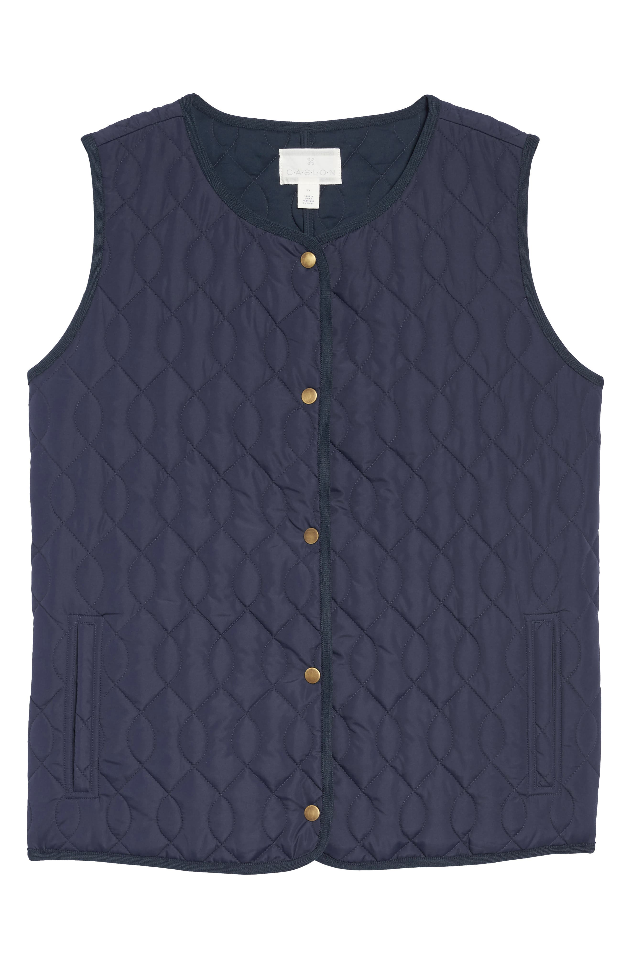 Collarless Quilted Vest,                             Alternate thumbnail 5, color,