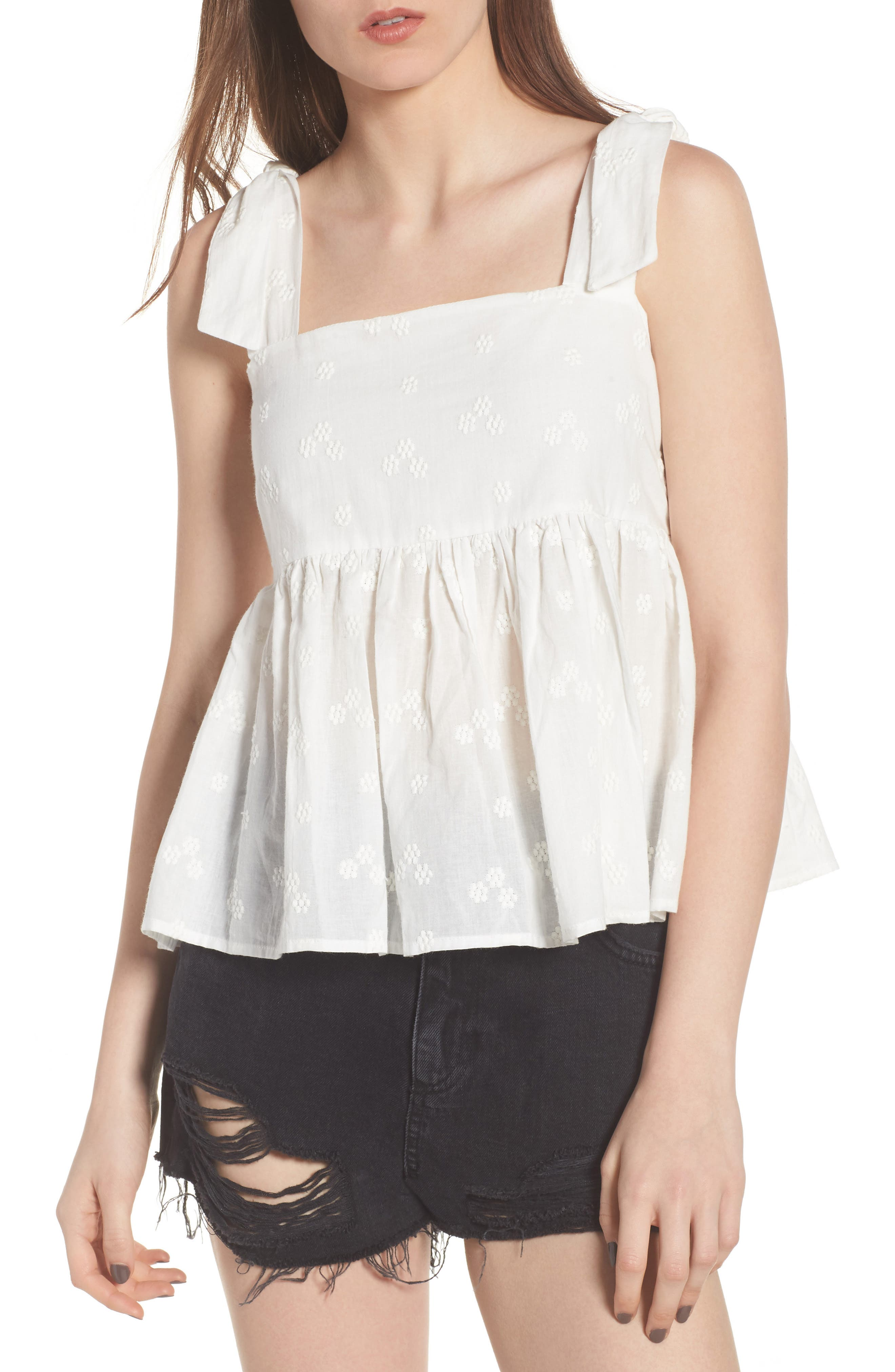 Embroidered Peplum Tank,                         Main,                         color,