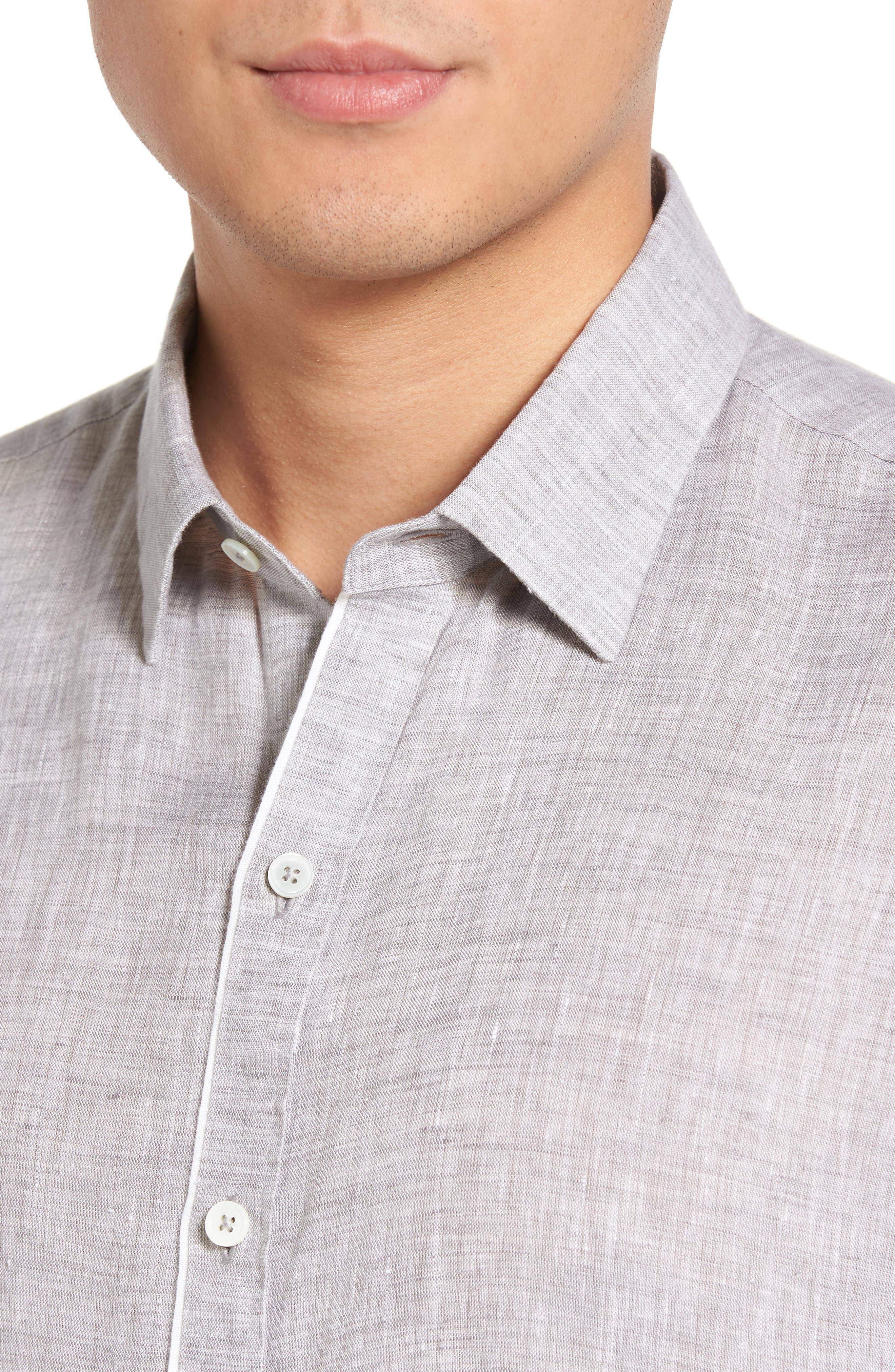 Kaplan Slim Fit Linen Sport Shirt,                             Alternate thumbnail 4, color,                             020