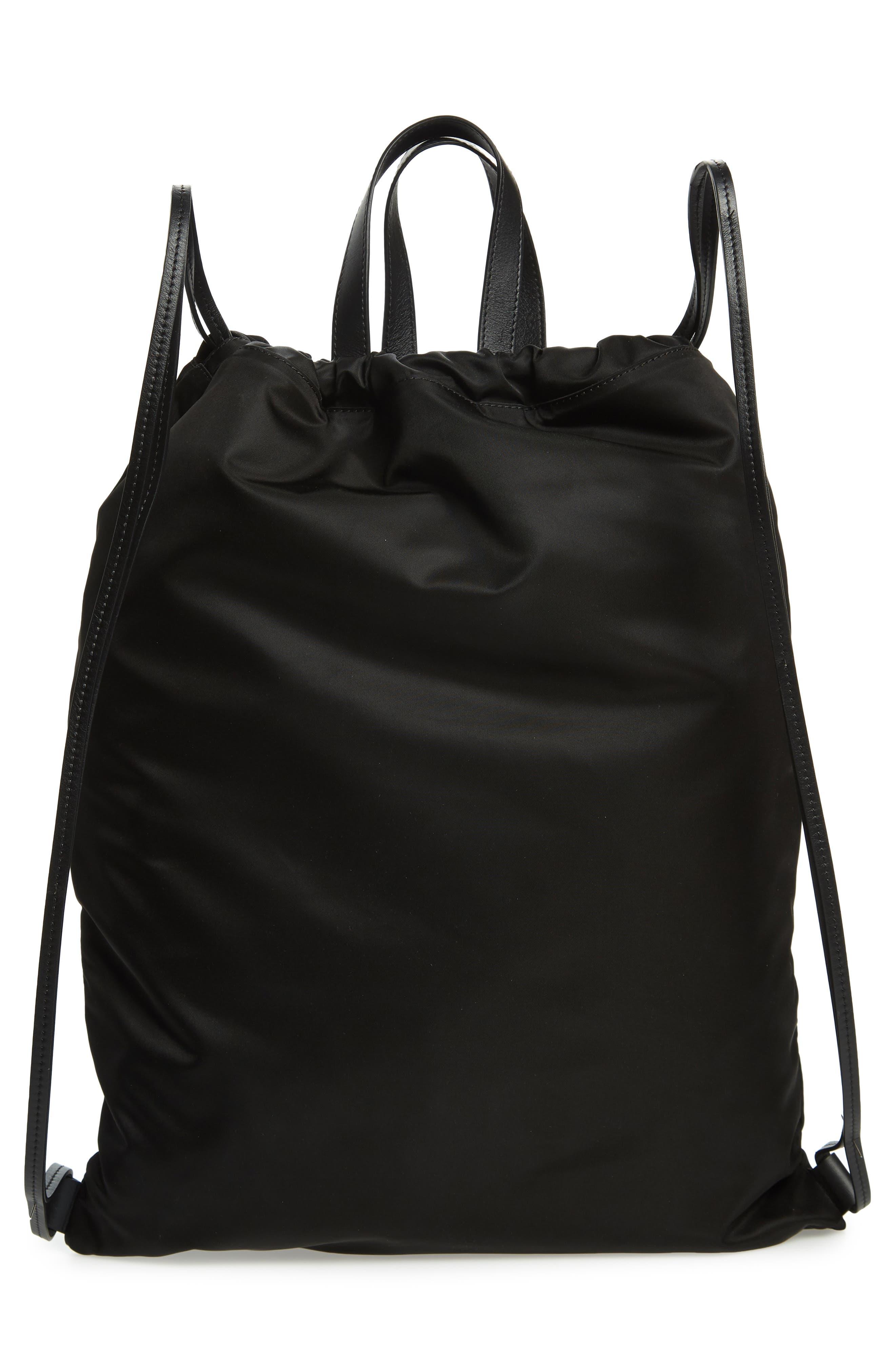 Drawstring Backpack,                             Alternate thumbnail 3, color,                             BLACK