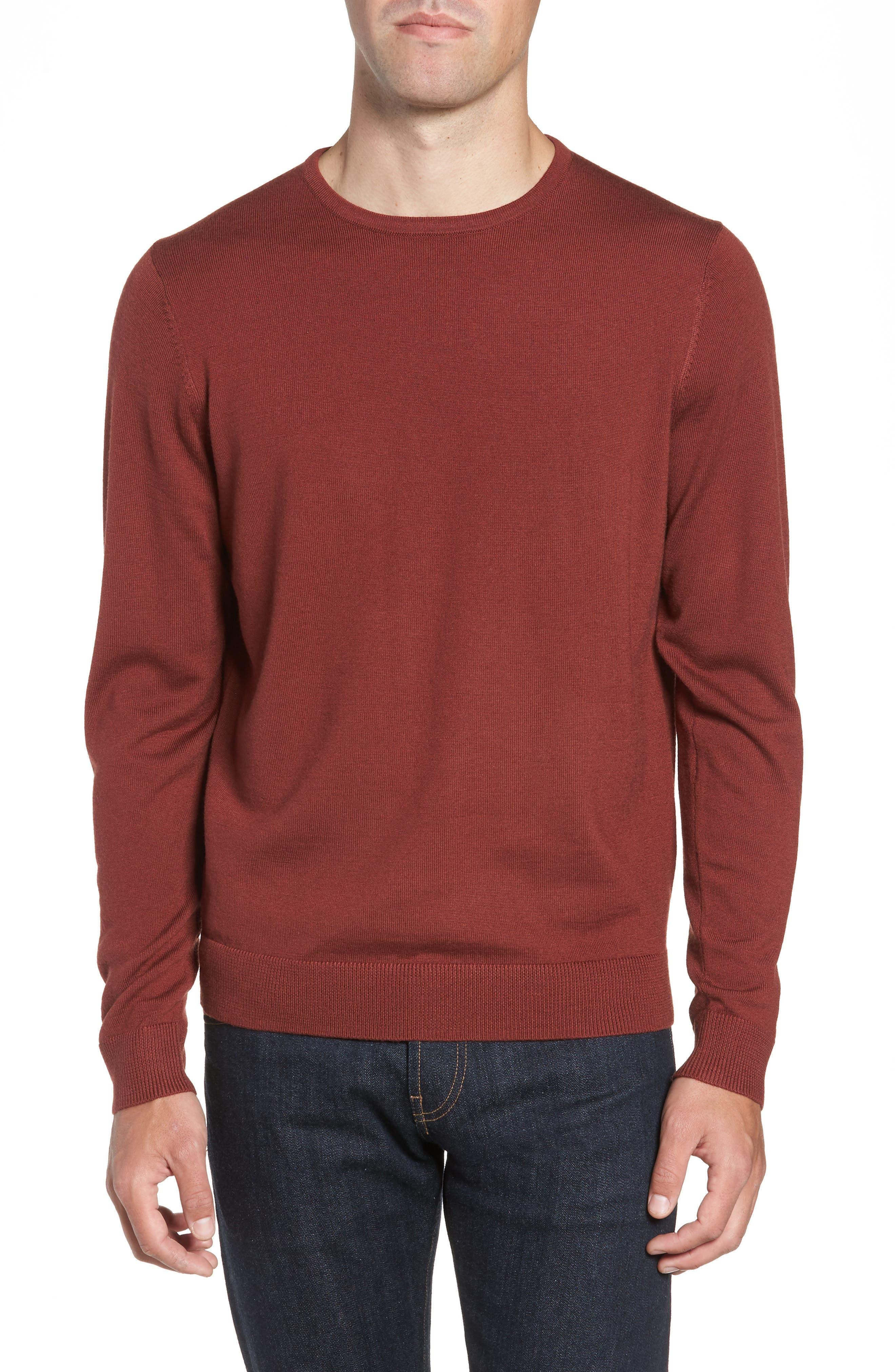 Nordstrom Shop Crewneck Merino Wool Sweater, Brown