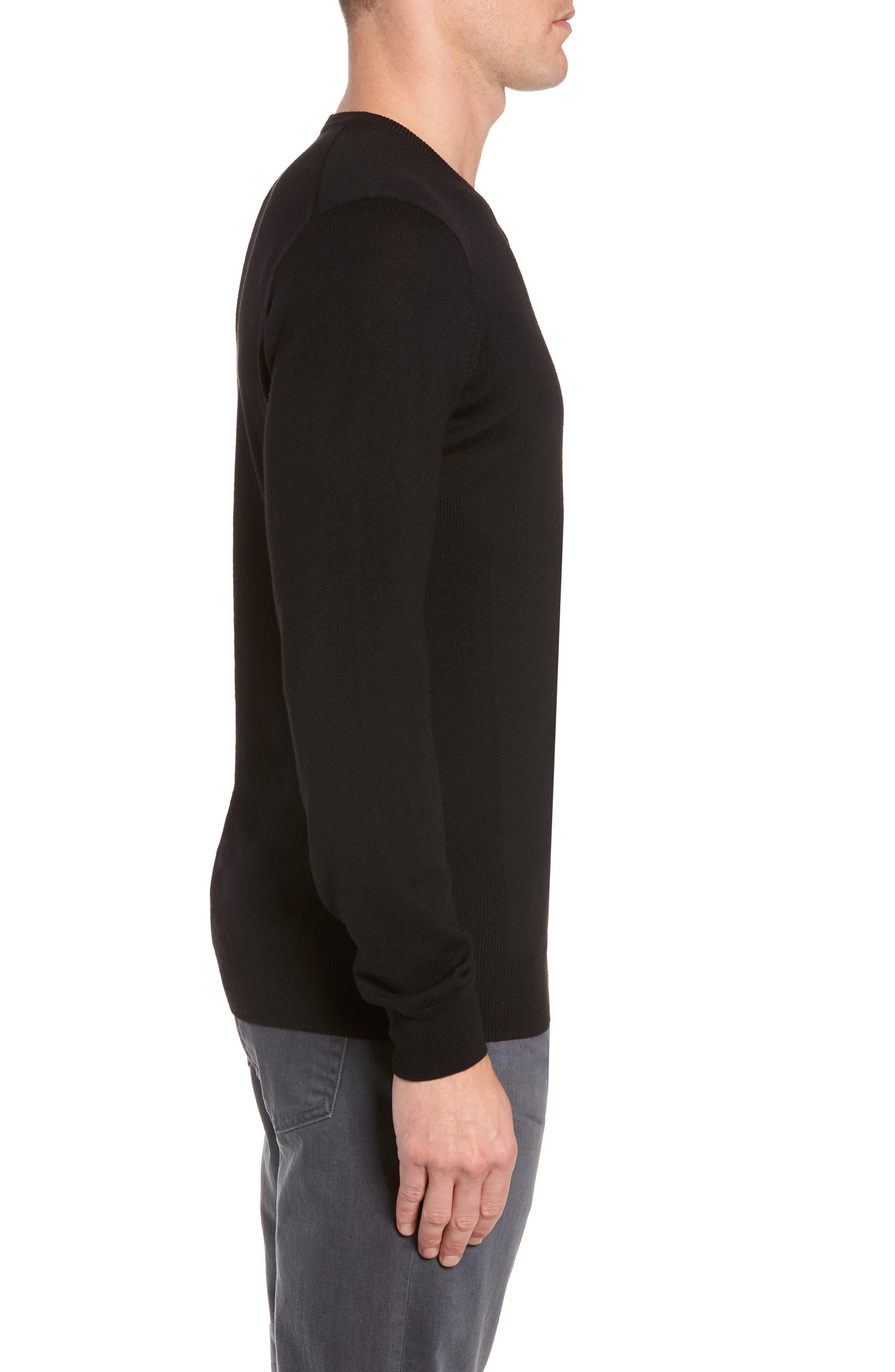 Shearer V-Neck Merino Sweater,                             Alternate thumbnail 3, color,                             BLACK