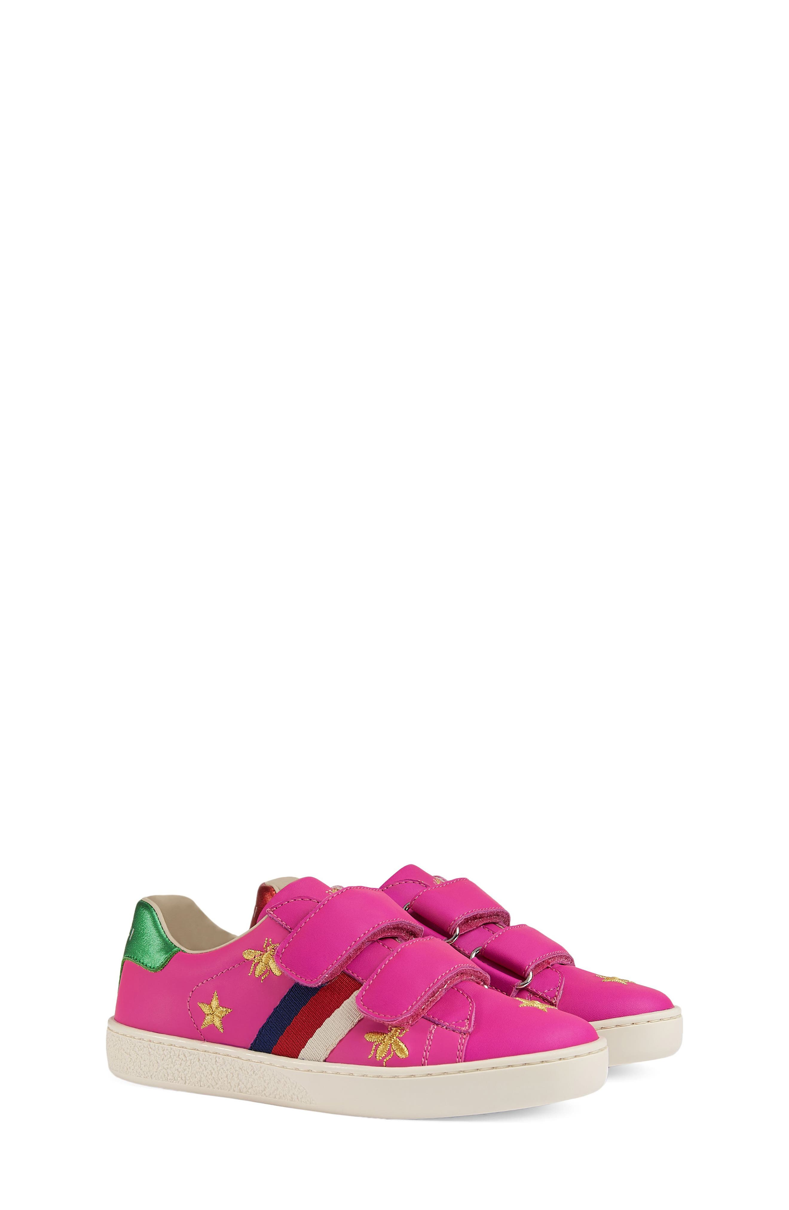 New Ace Embroidered Sneaker,                         Main,                         color, PINK STAR