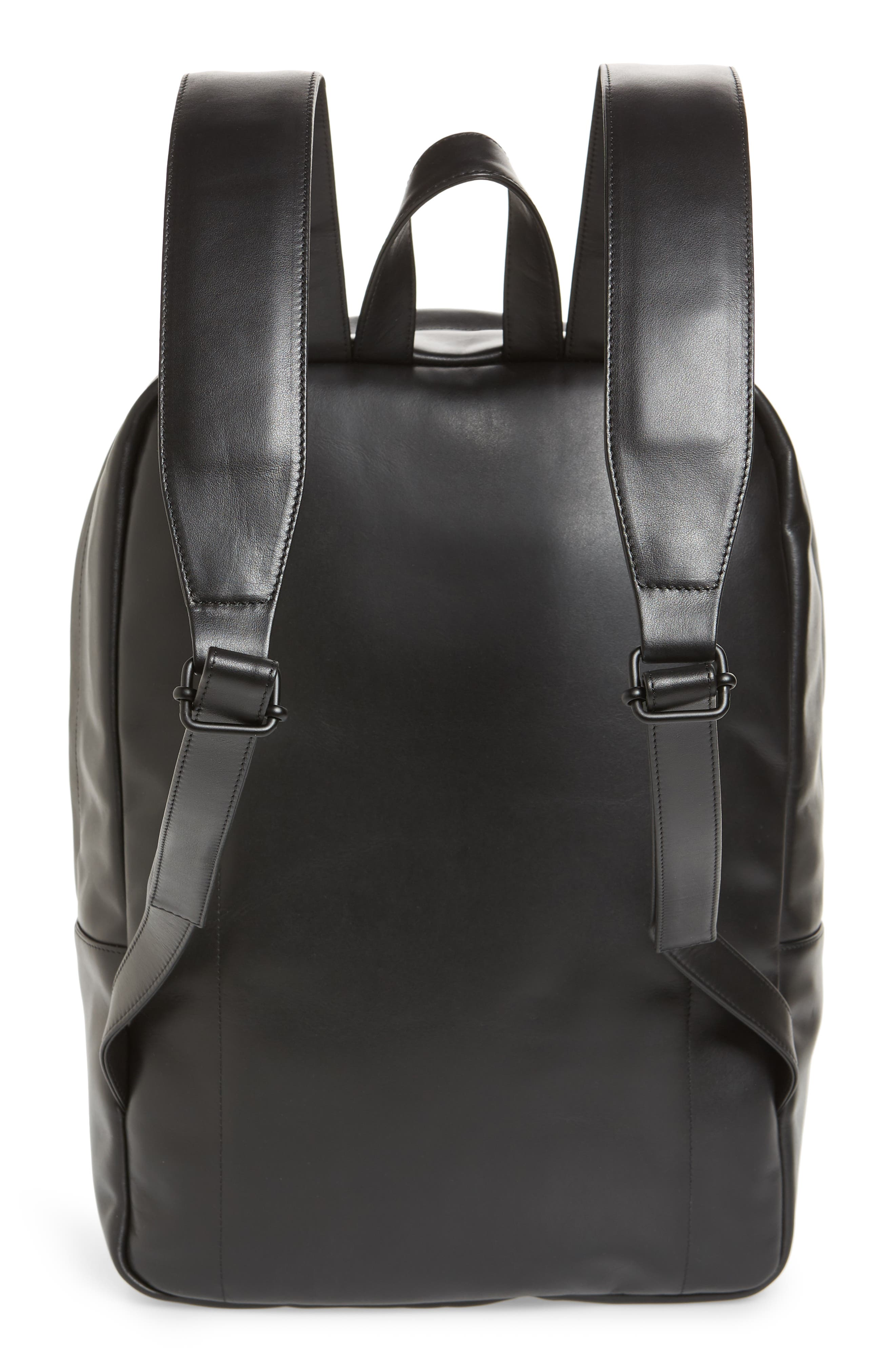 Leather Backpack,                             Alternate thumbnail 3, color,                             001