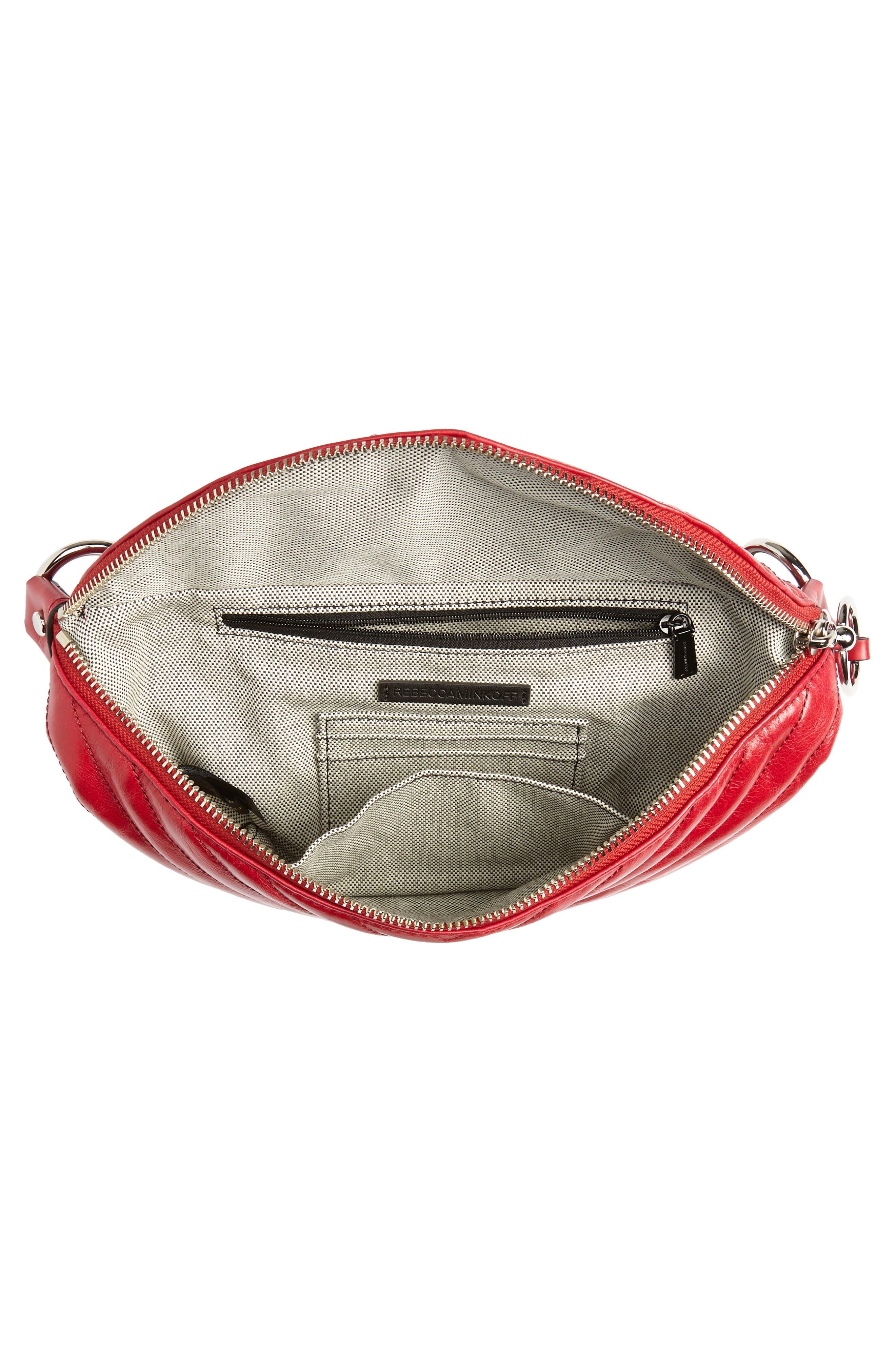 Edie Leather Belt Bag,                             Alternate thumbnail 5, color,                             SCARLET