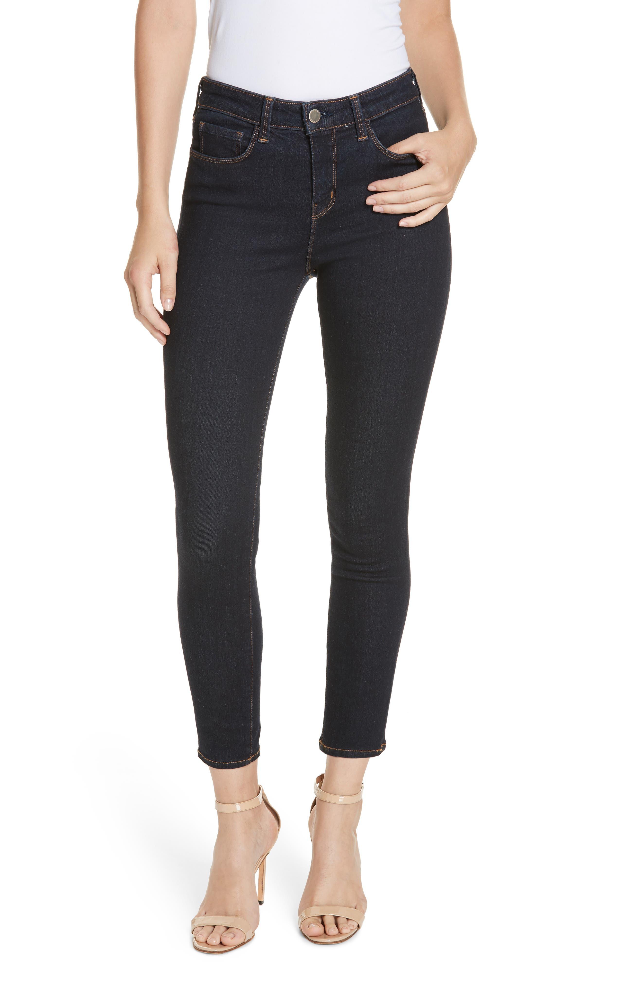 Margot High Waist Crop Jeans,                             Main thumbnail 1, color,                             MIDNIGHT