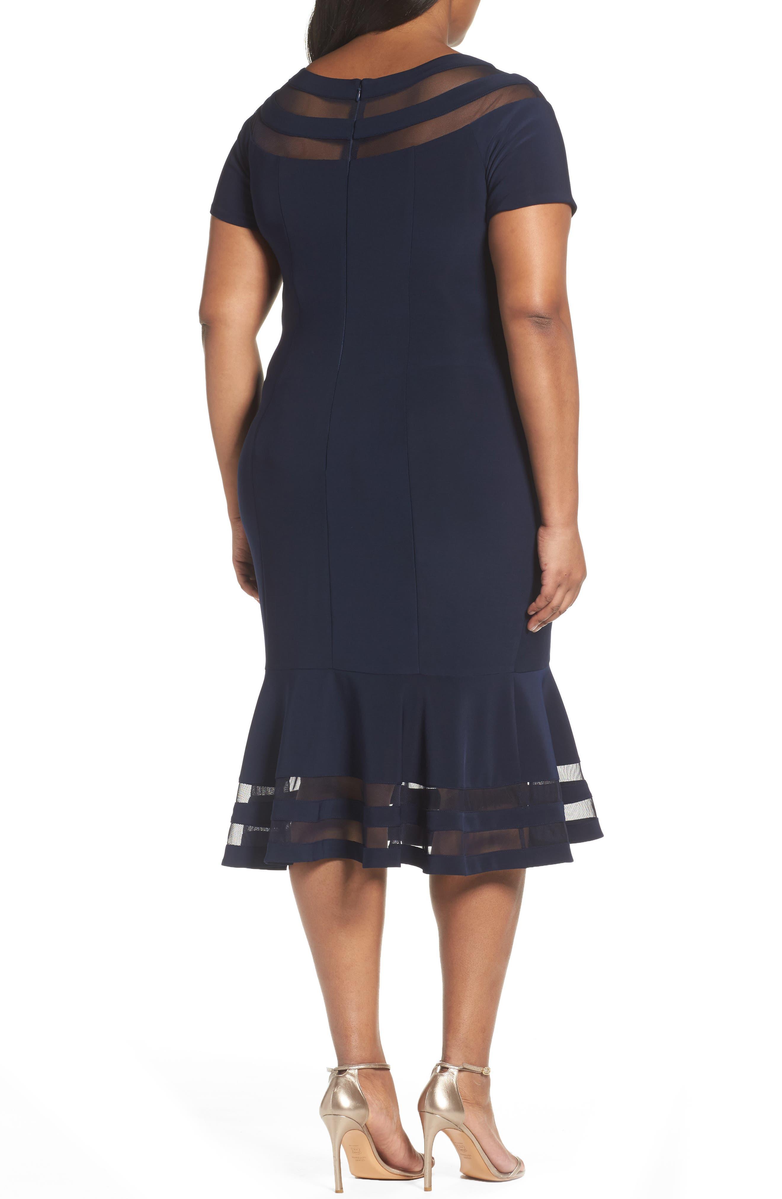 Shadow Stripe Flounce Hem Midi Dress,                             Alternate thumbnail 2, color,                             400