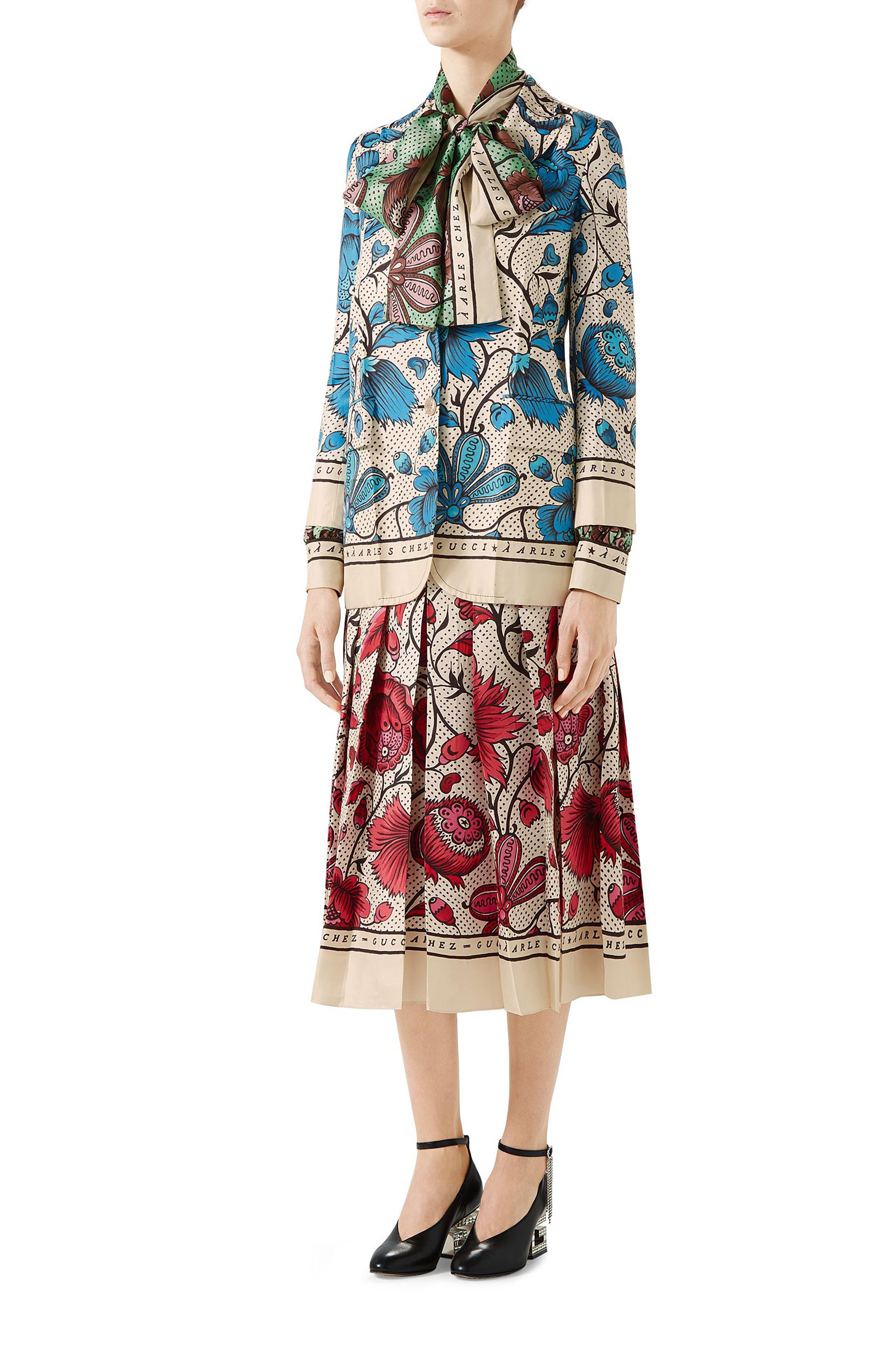 Watercolor Floral Print Pleated Silk Twill Midi Skirt,                             Alternate thumbnail 3, color,                             5349 FUCHSIA/ IVORY PRINTE