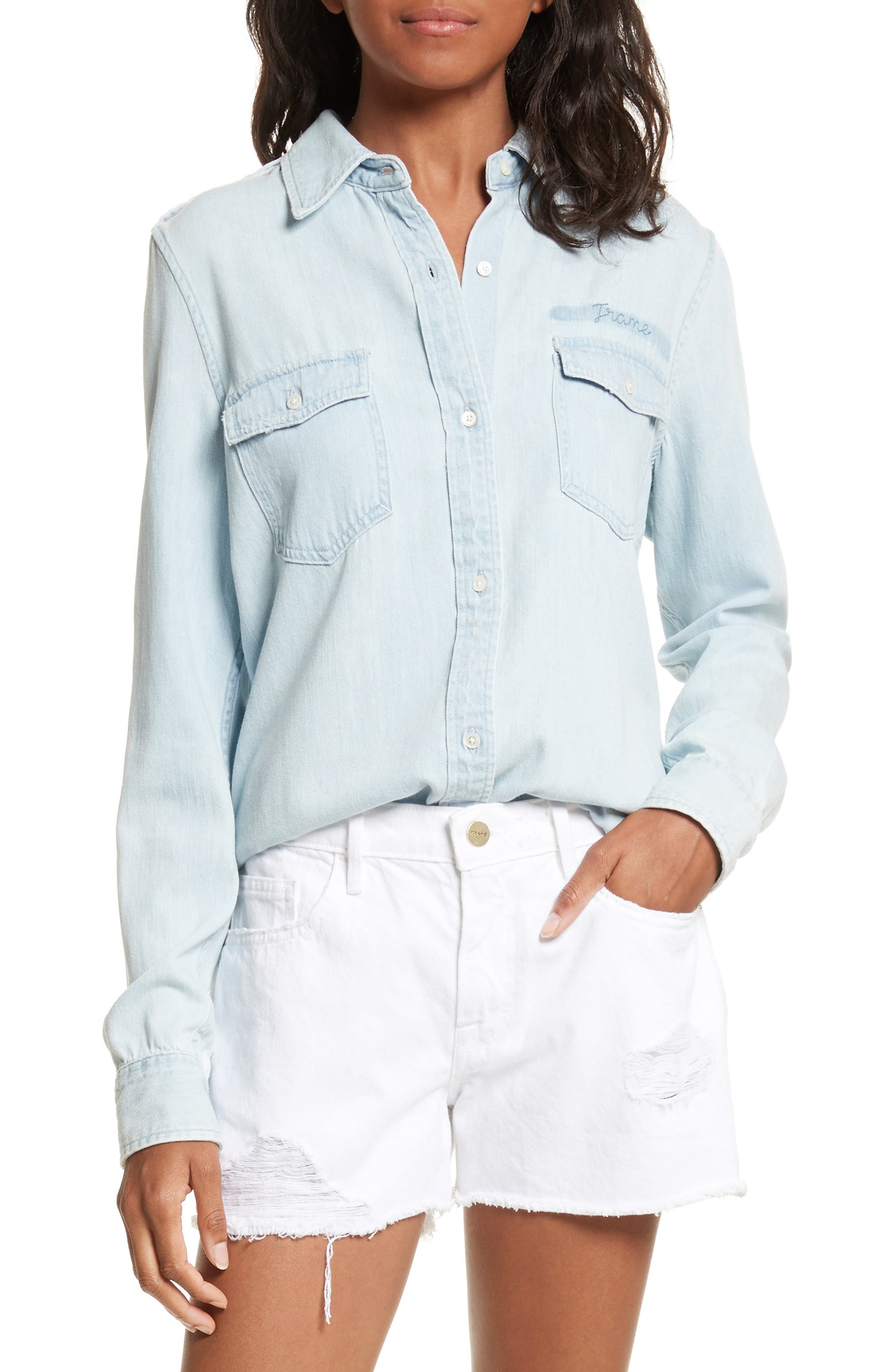 Denim Military Shirt,                         Main,                         color, 400