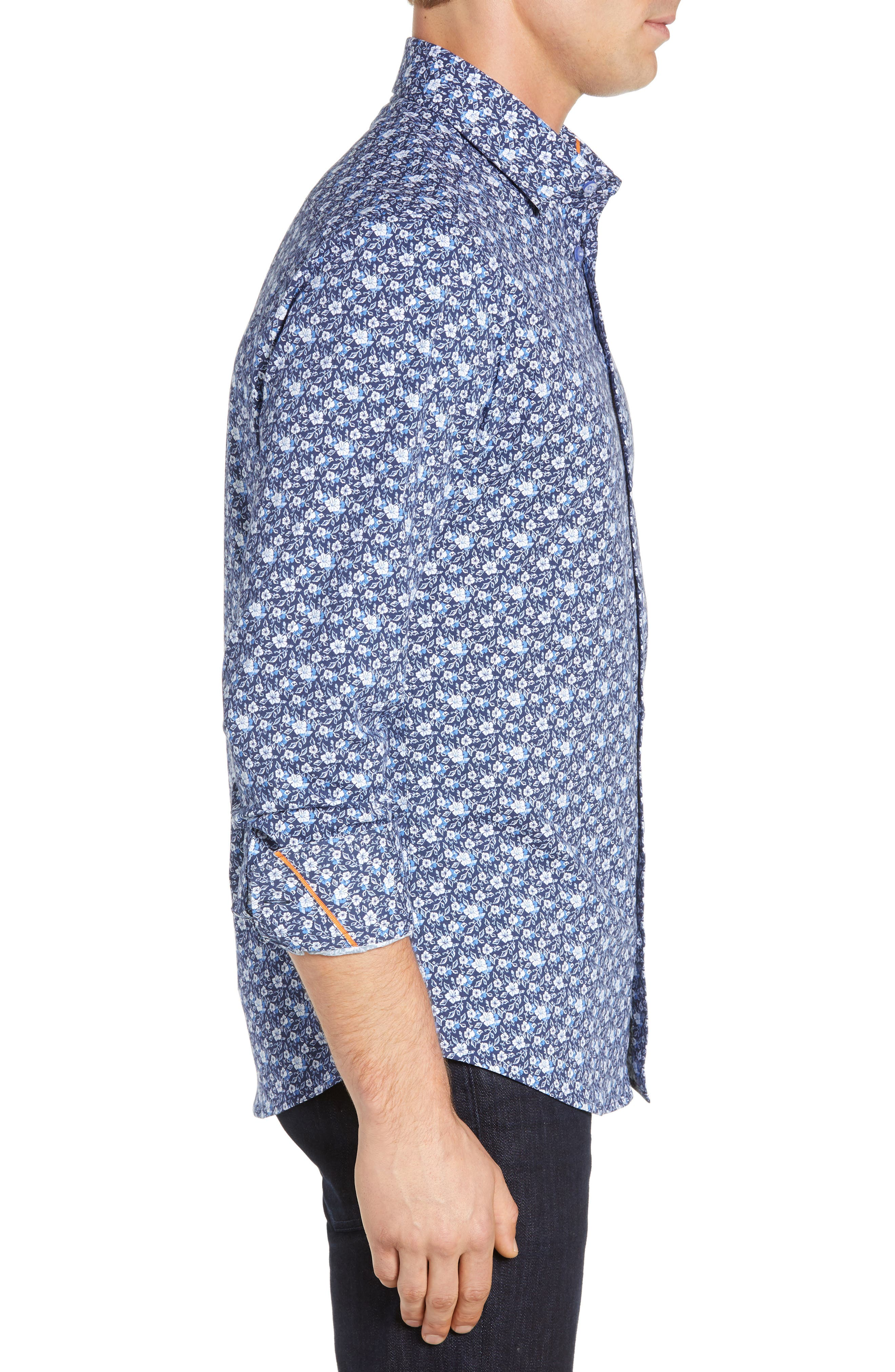 Regular Fit Floral Print Knit Sport Shirt,                             Alternate thumbnail 4, color,                             NAVY