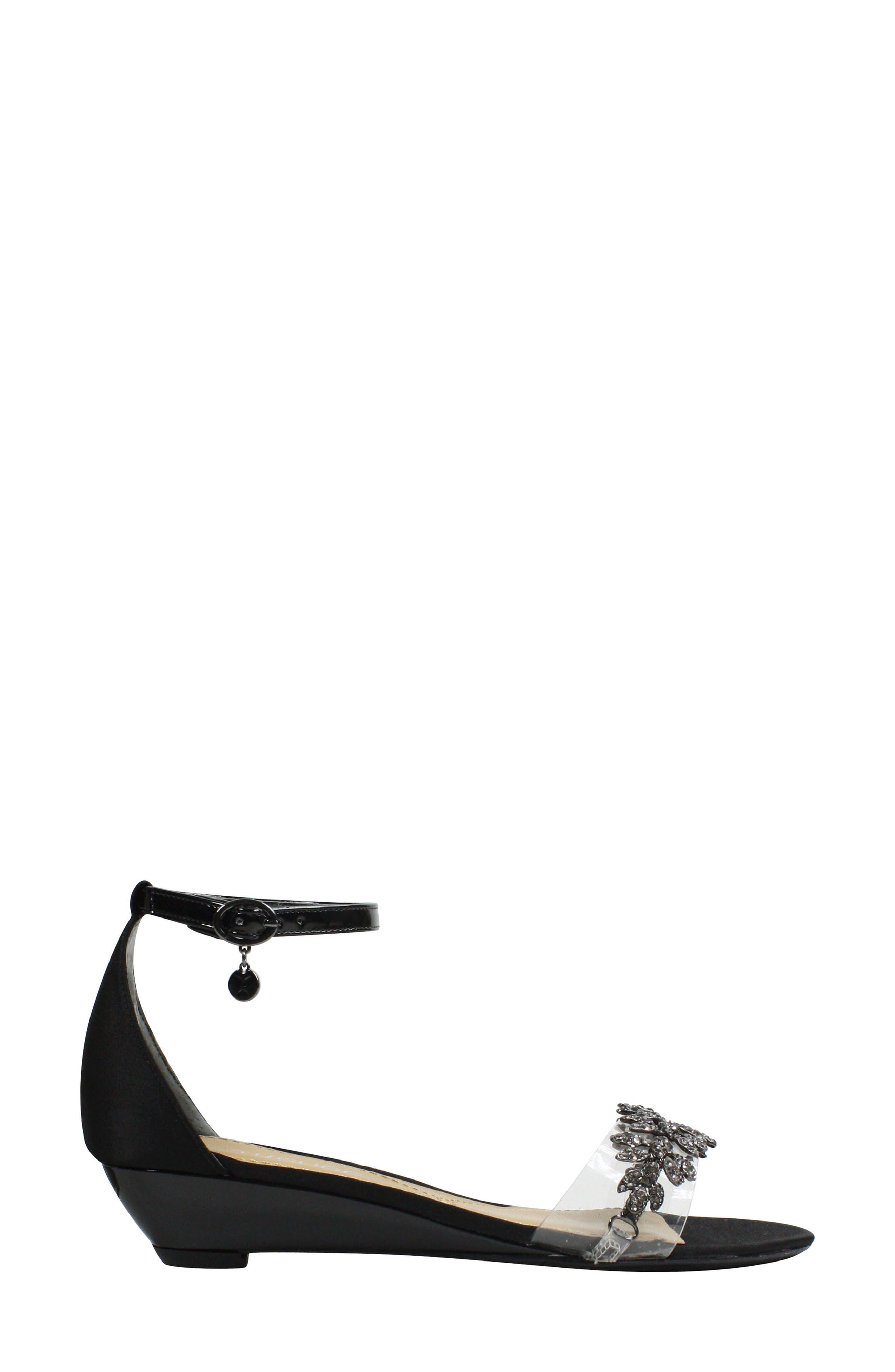 Evania Ankle Strap Sandal,                             Alternate thumbnail 3, color,                             BLACK SATIN
