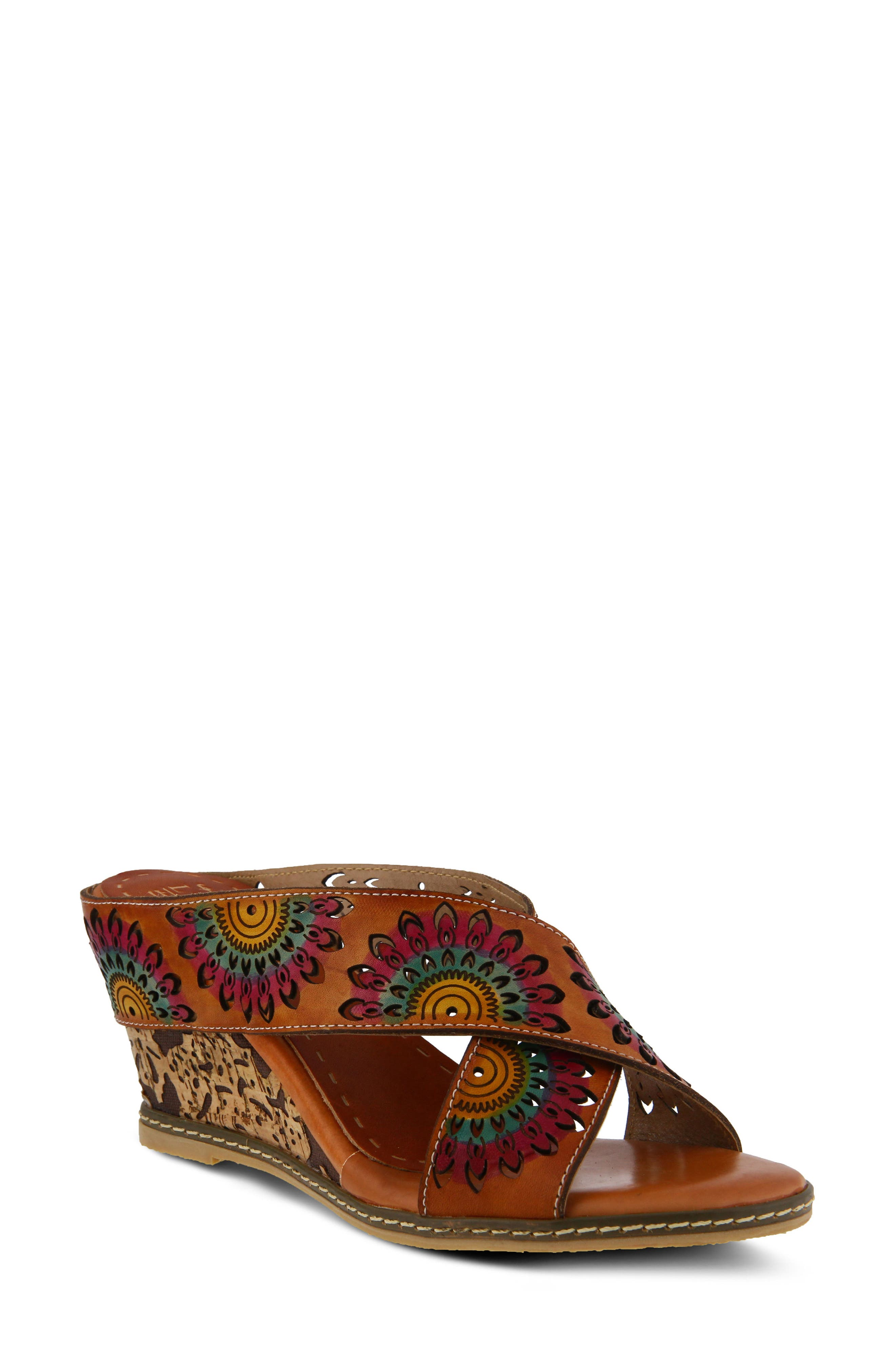 L'Artiste Enticing Wedge Sandal,                         Main,                         color, CAMEL LEATHER