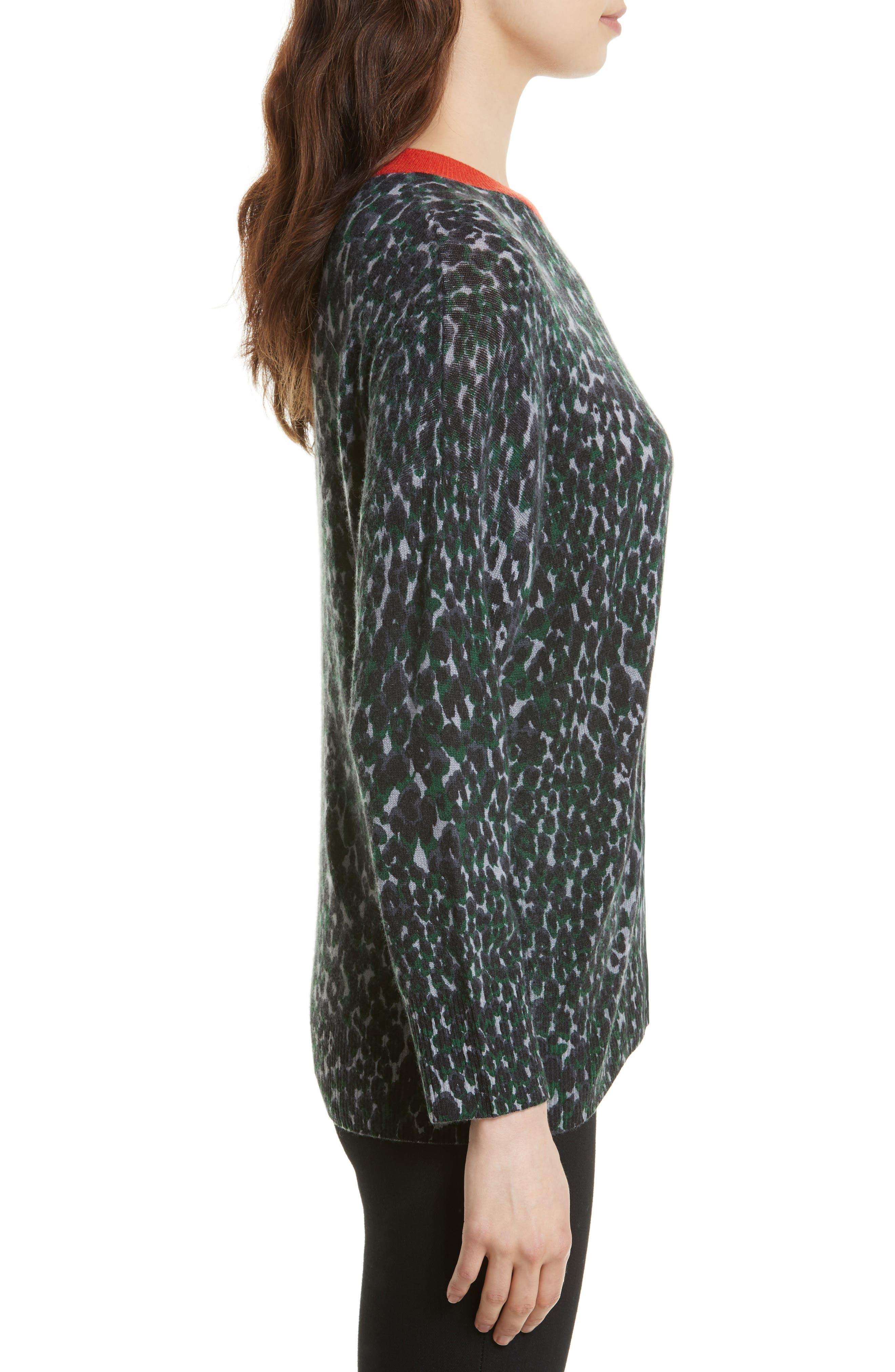 Melanie Leopard Print Cashmere Sweater,                             Alternate thumbnail 3, color,                             073