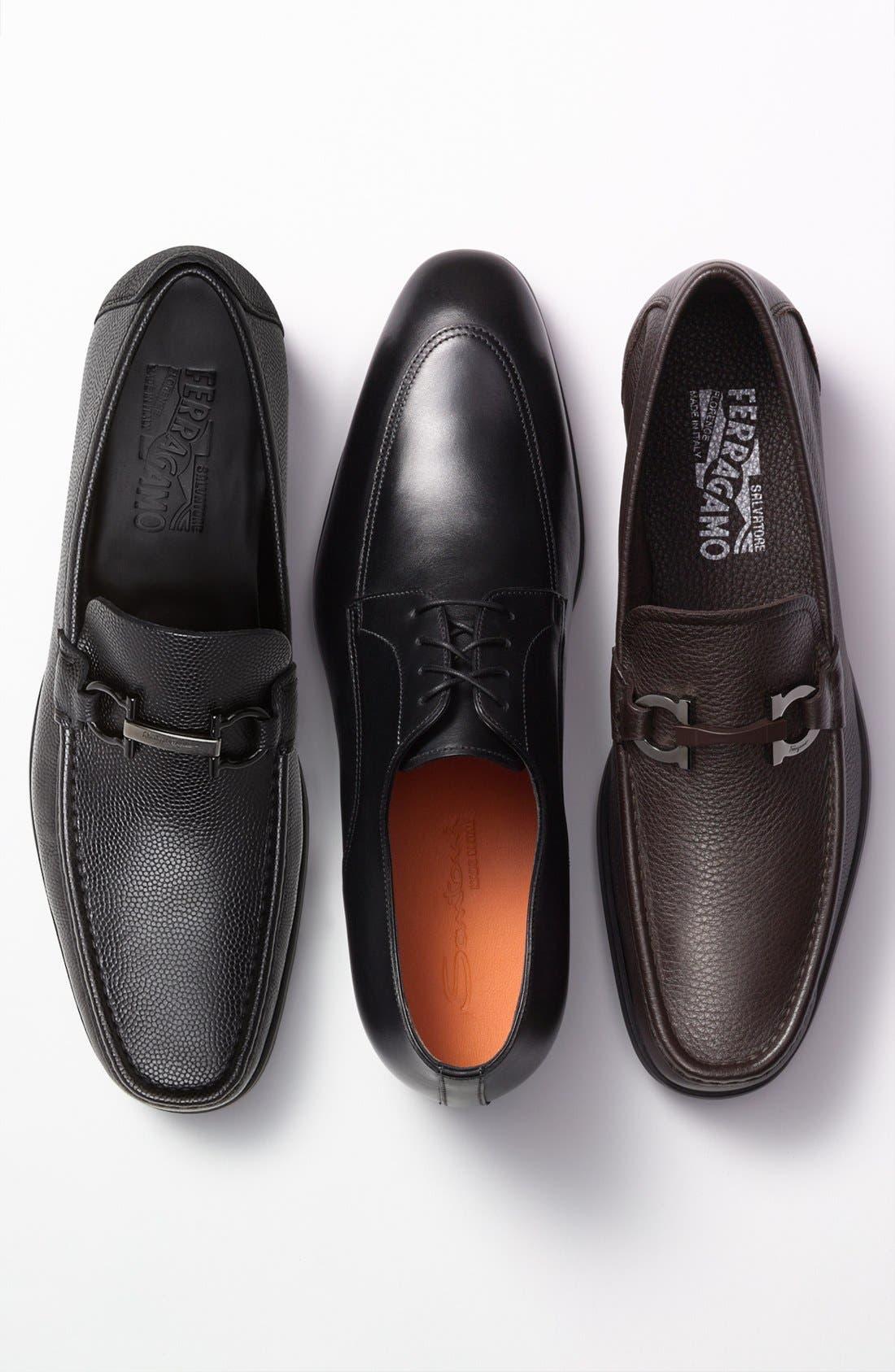 'Regal' Pebbled Leather Loafer,                             Alternate thumbnail 6, color,                             001