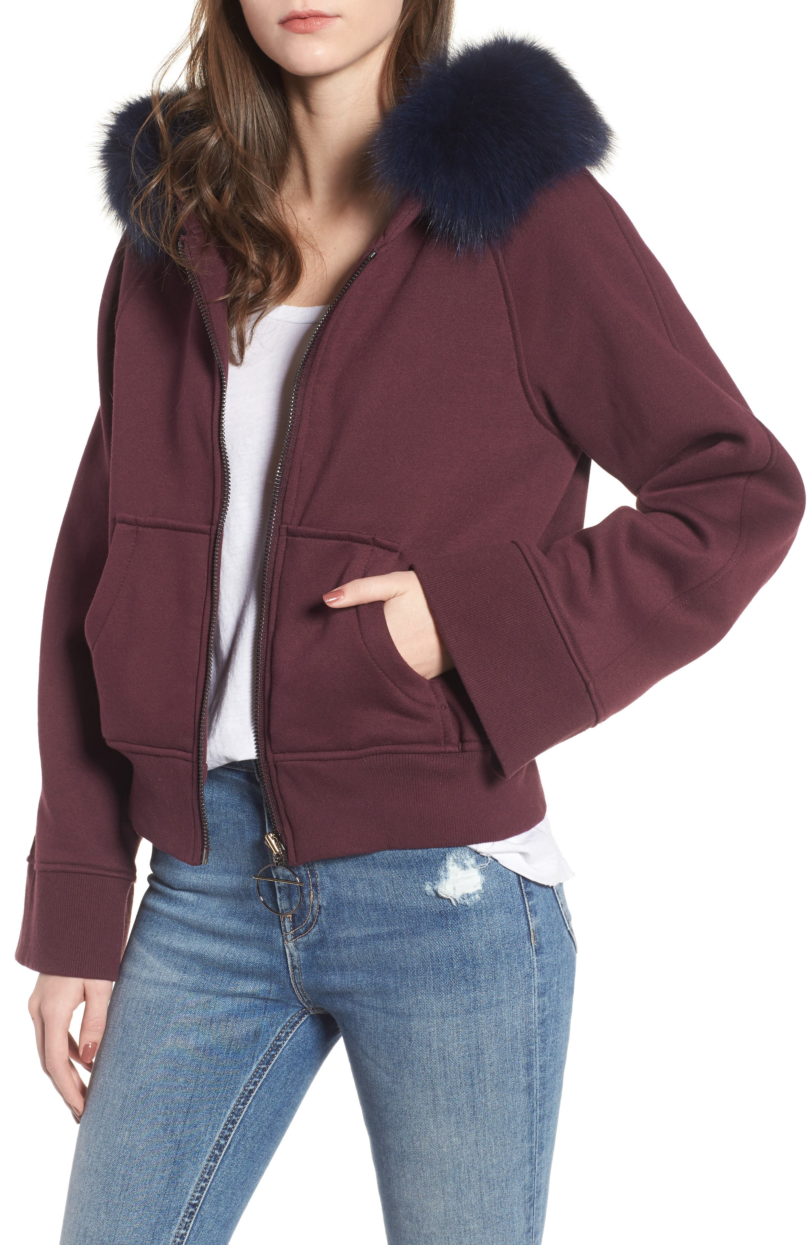BAGATELLE.CITY The Luxe Hooded Jacket with Genuine Fox Fur Trim,                             Main thumbnail 3, color,