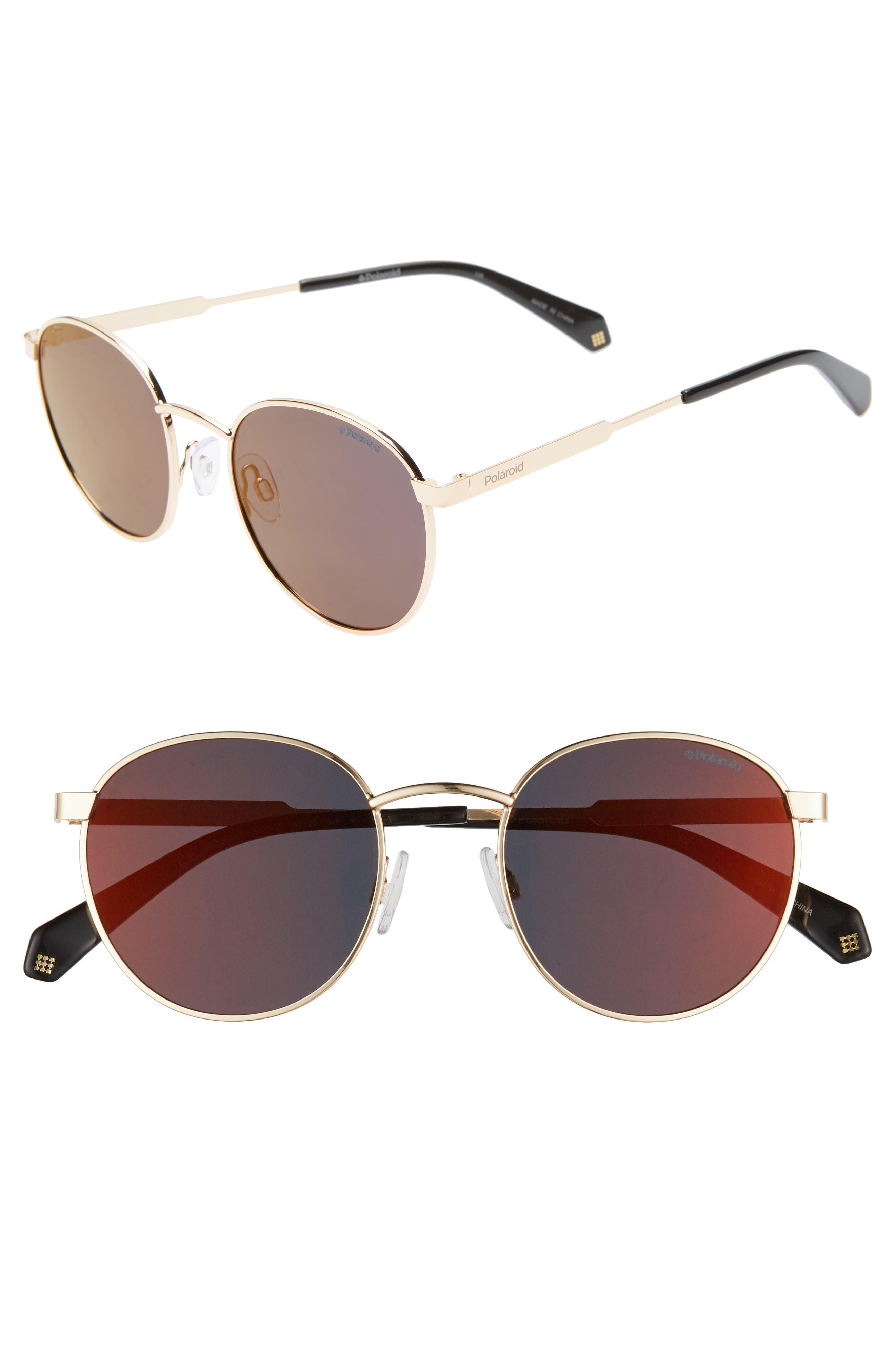 Polaroid 51Mm Polarized Round Sunglasses - Gold/ Burgundy
