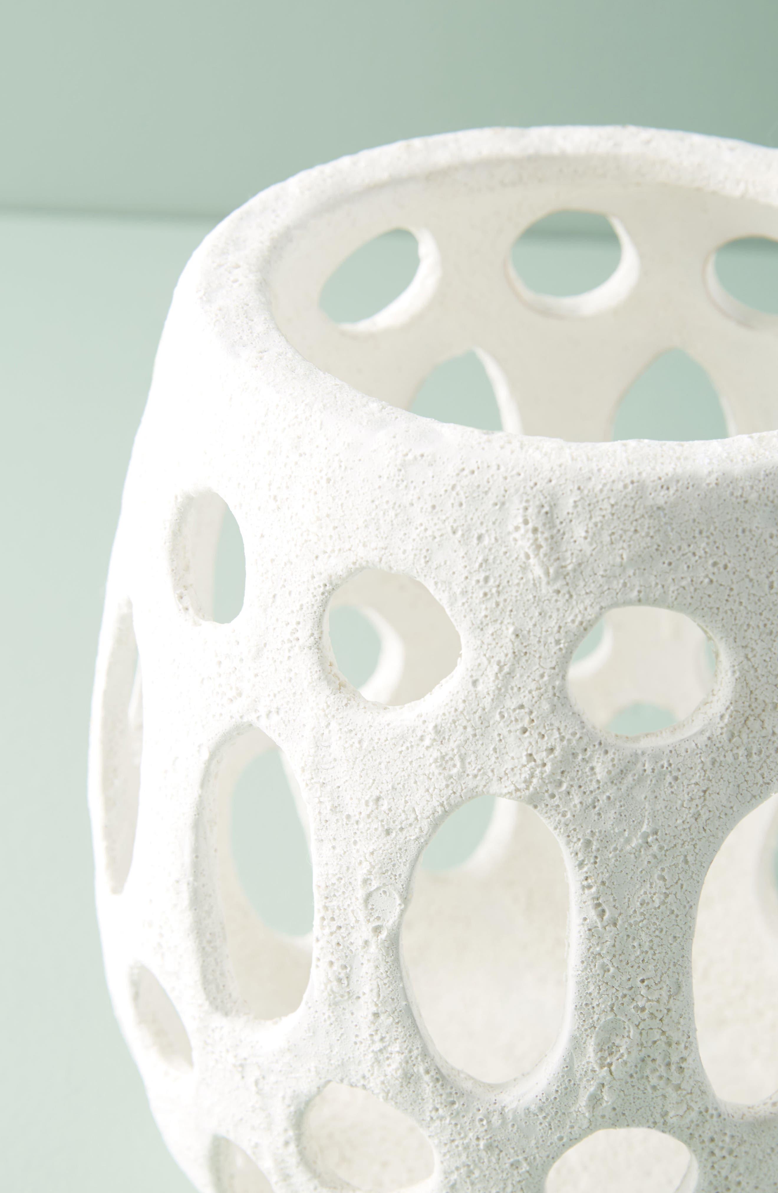 Hand Carved Ceramic Hurricane Candleholder,                             Alternate thumbnail 3, color,                             WHITE - LARGE
