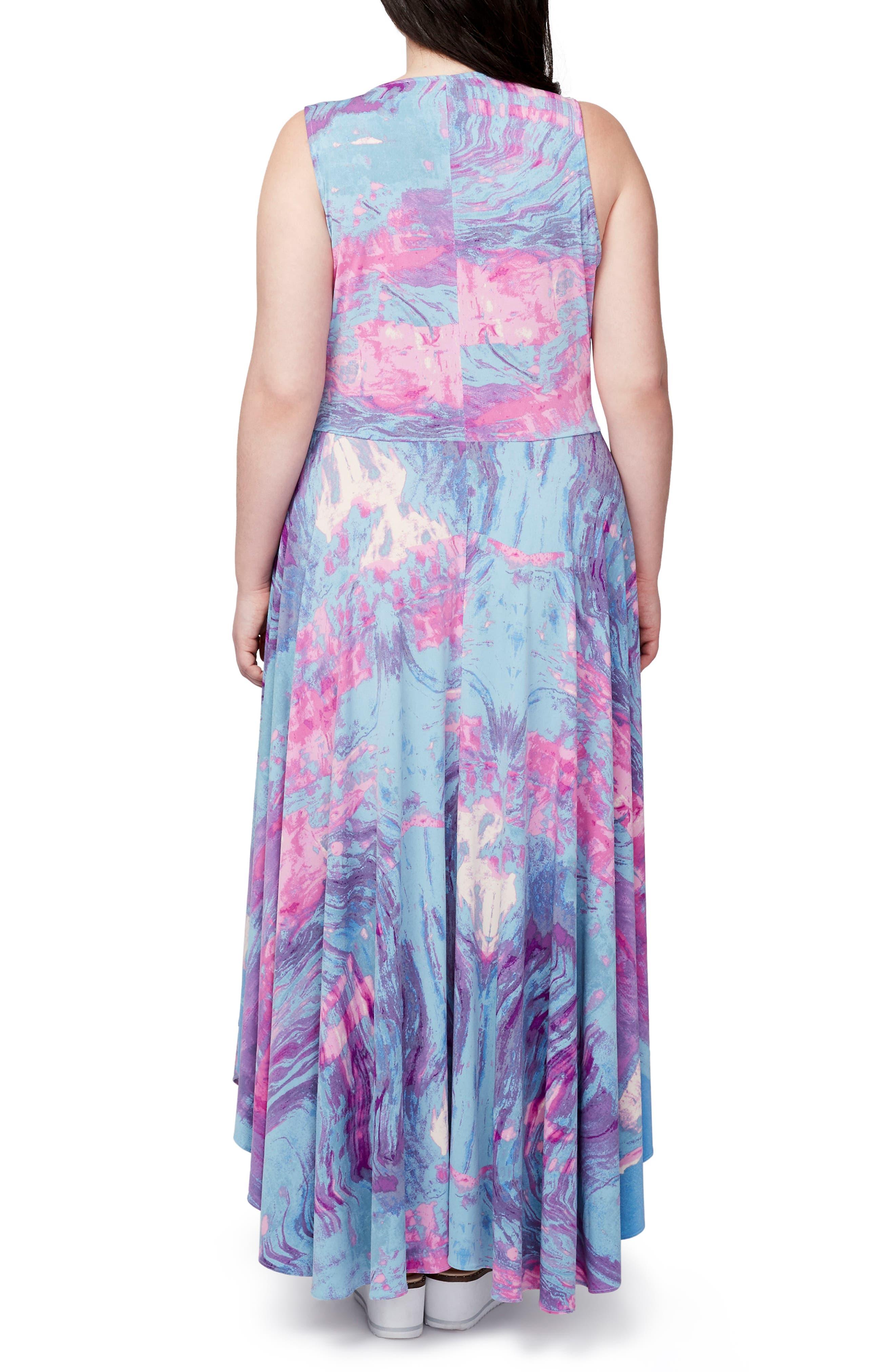 Round Hem Print Maxi Dress,                             Alternate thumbnail 2, color,                             523