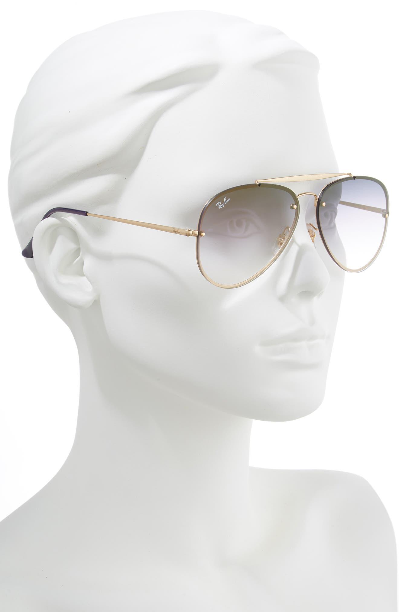 61mm Mirrored Lens Aviator Sunglasses,                             Alternate thumbnail 2, color,                             GOLD/ BLUE VIOLET GRADIENT
