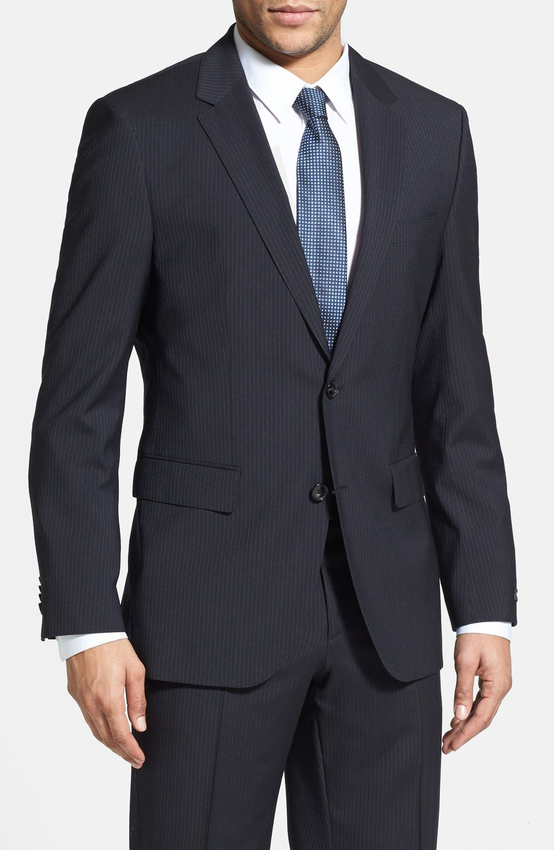 BOSS 'James/Sharp' Trim Fit Stripe Suit,                             Alternate thumbnail 2, color,                             410