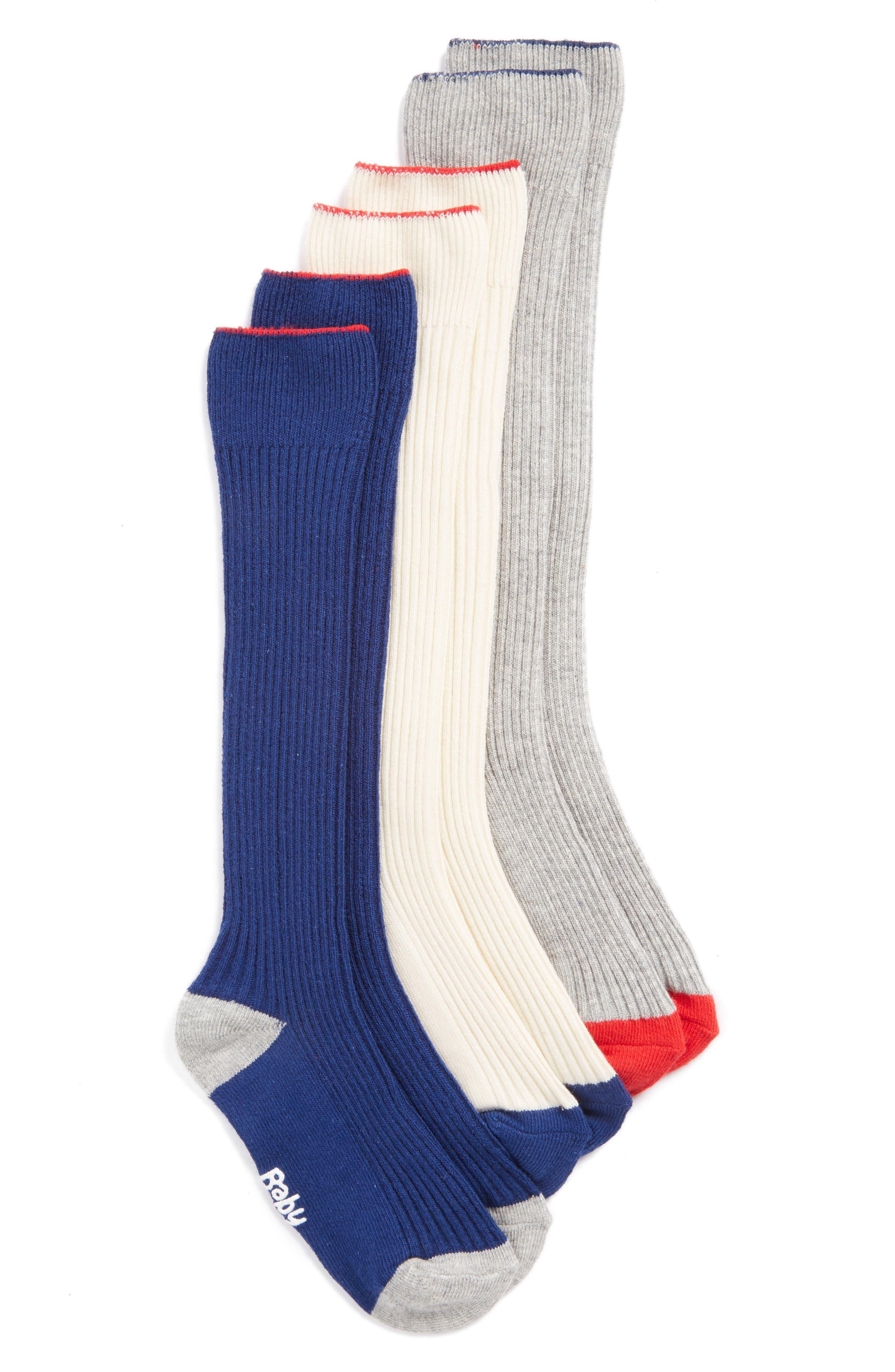 3-Pack Ribbed Knee-High Socks, Main, color, 400