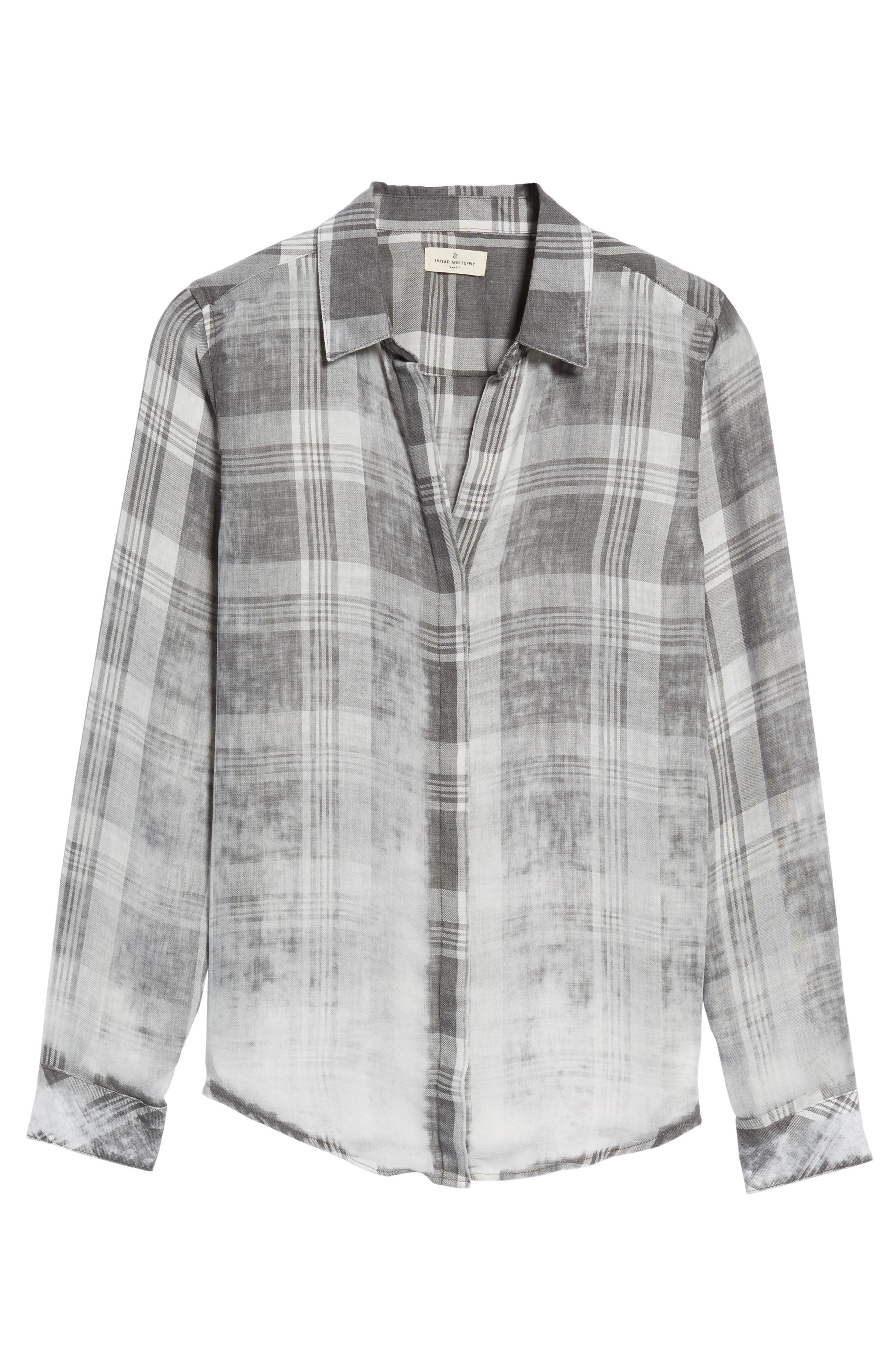 Conor Burnout Plaid Shirt,                             Alternate thumbnail 6, color,