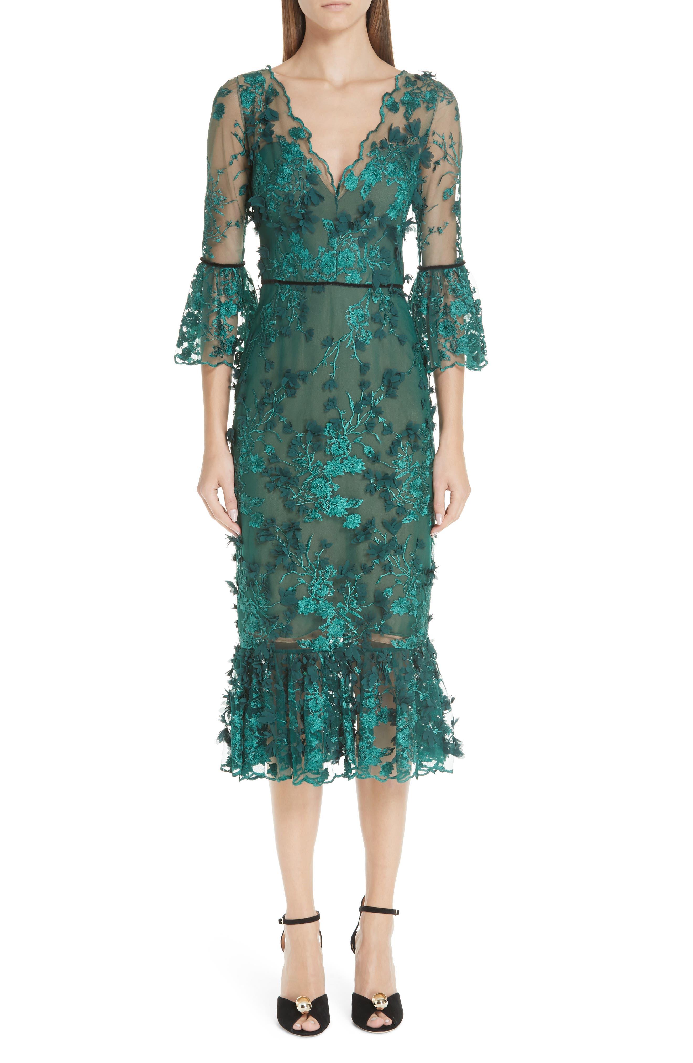 MARCHESA NOTTE Embroidered Ruffle Trim Sheath Dress, Main, color, 300