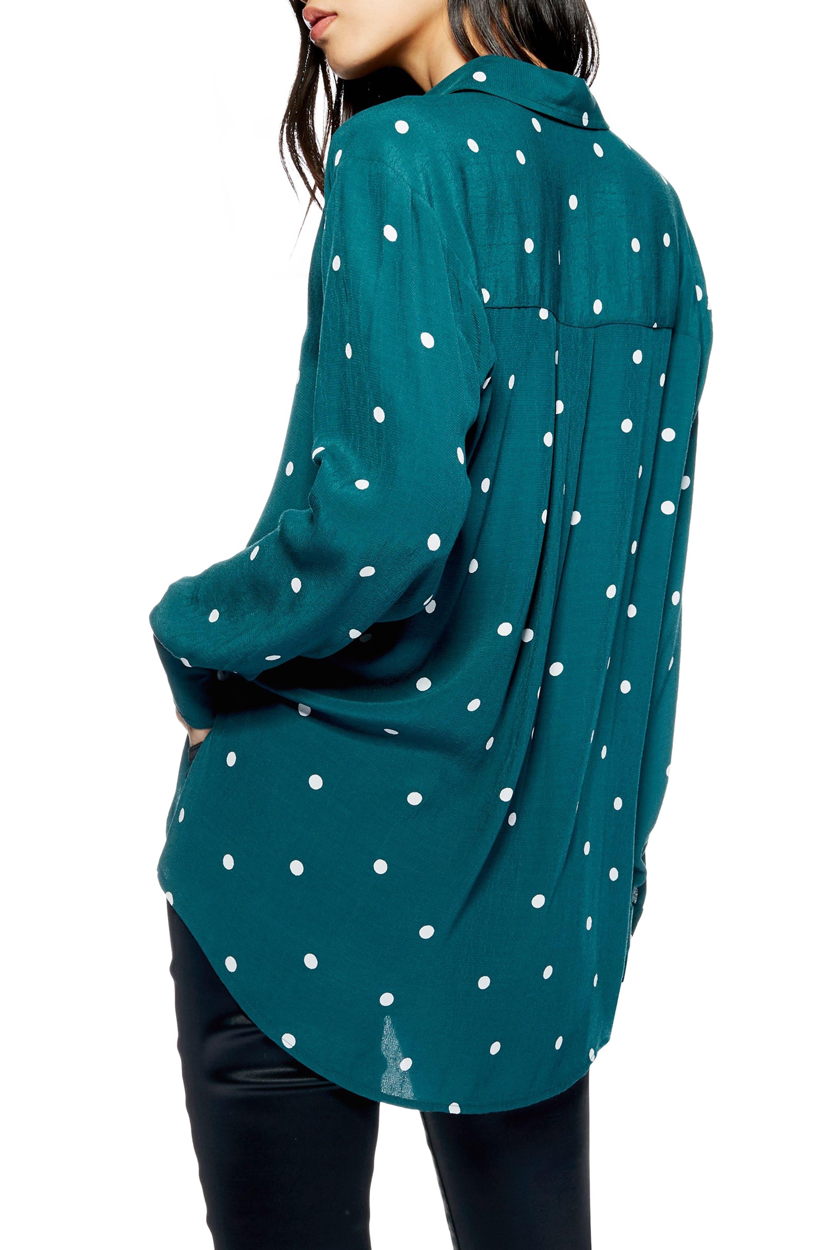 Oversize Spot Shirt,                             Alternate thumbnail 2, color,                             GREEN MULTI