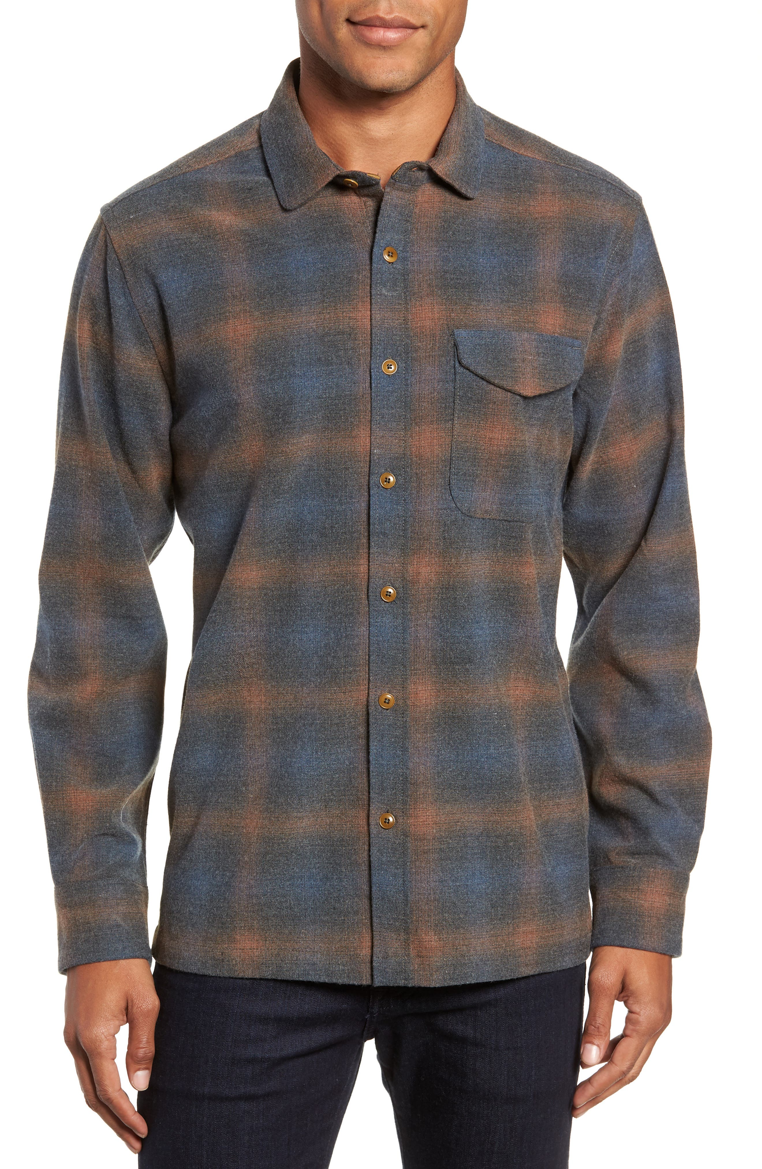 Washburn Regular Fit Plaid Stretch Brushed Flannel Shirt,                         Main,                         color, BLUE WING TEAL HEATHER