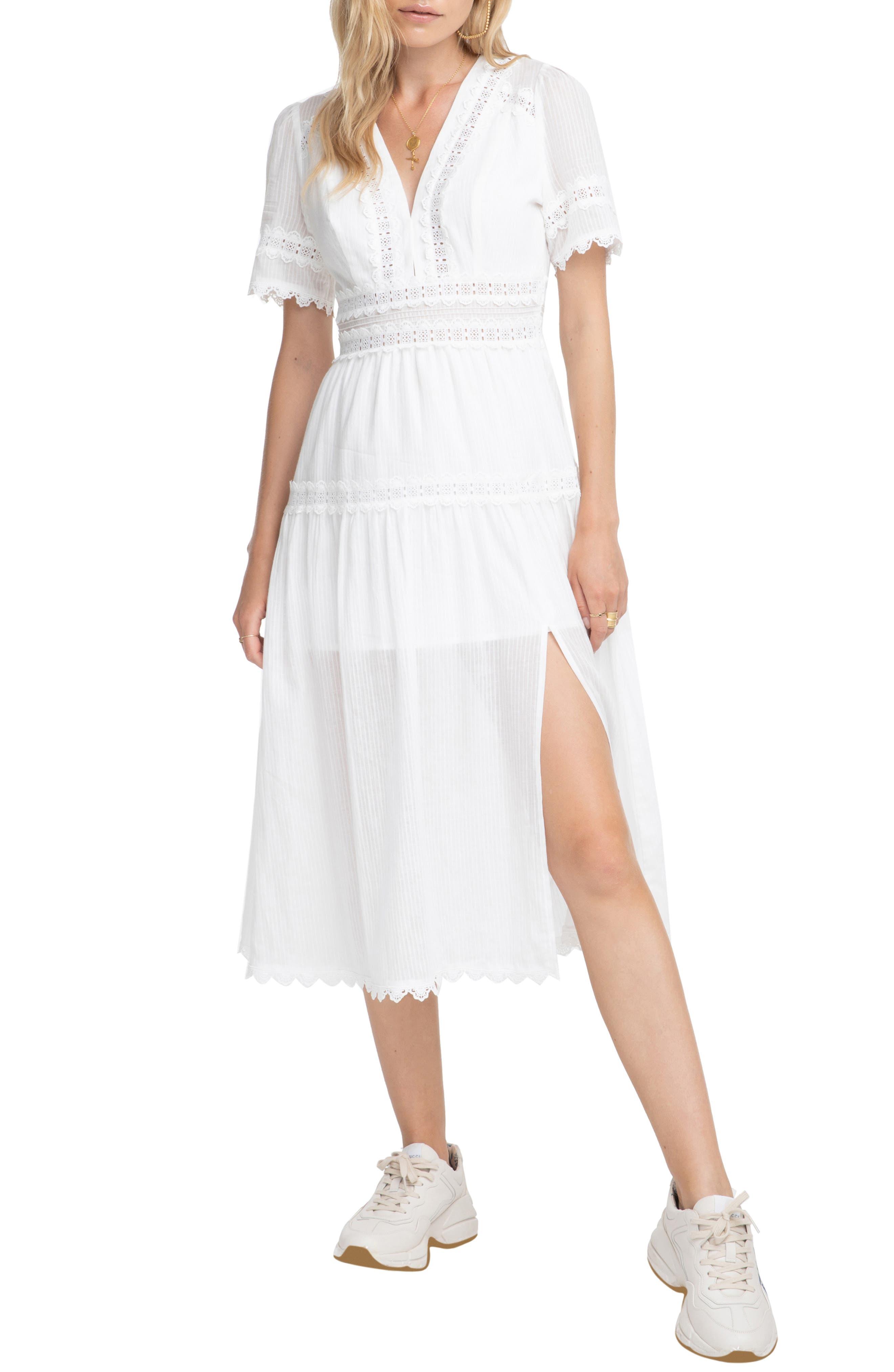 ASTR THE LABEL Ari Midi Dress, Main, color, WHITE