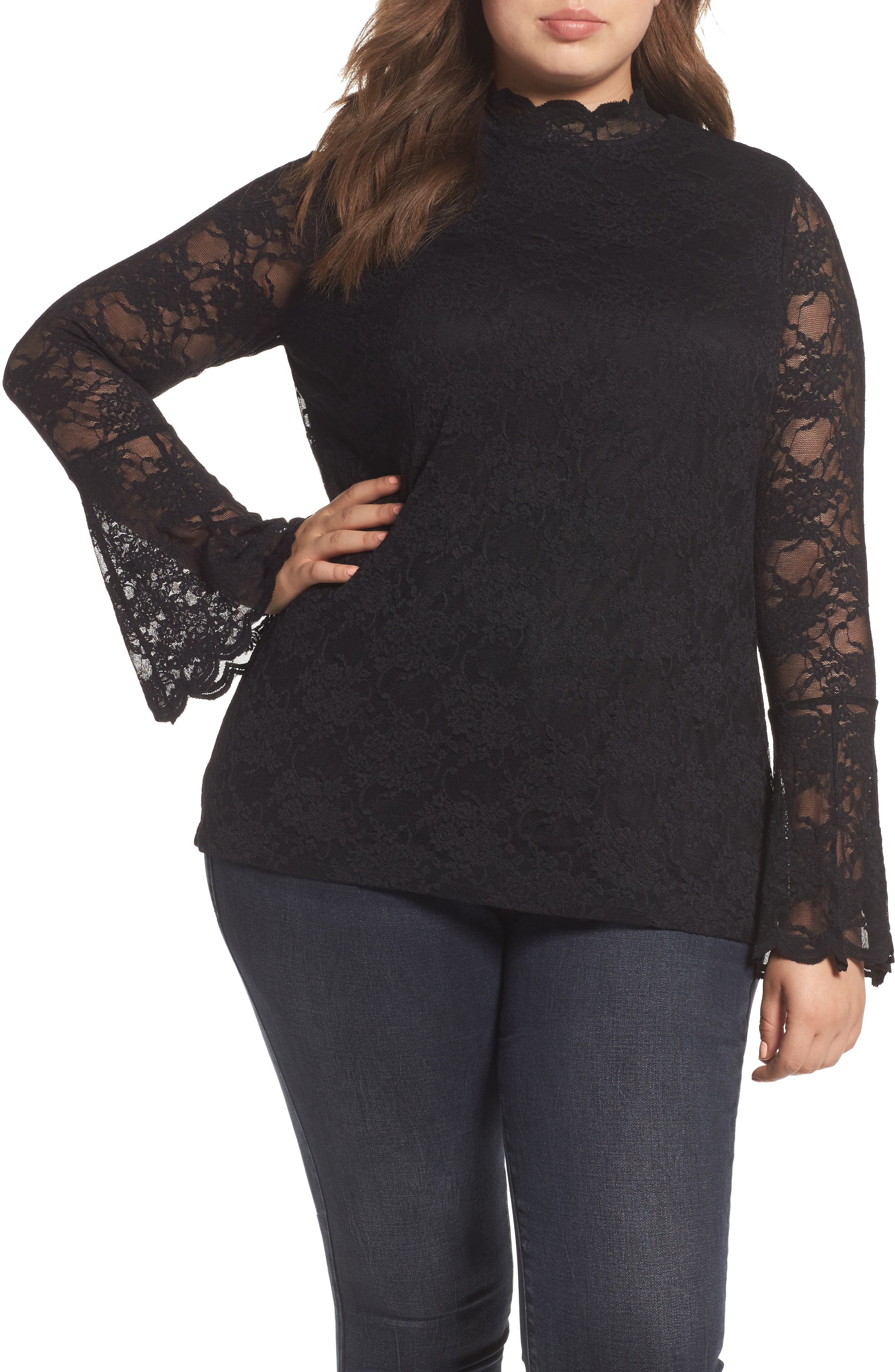 Bell Sleeve Lace Top,                             Main thumbnail 1, color,                             010