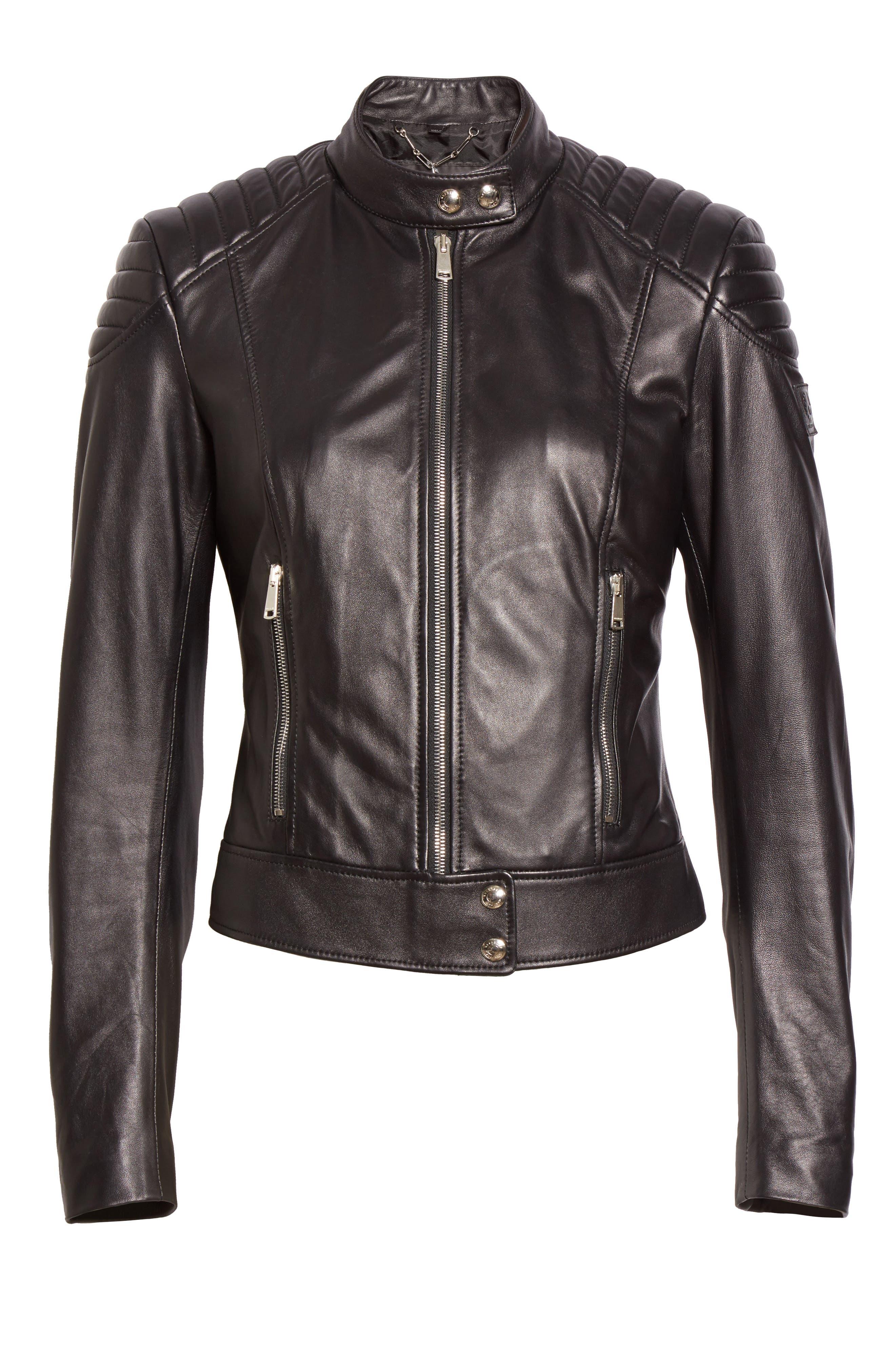 Mollison Leather Moto Jacket,                             Alternate thumbnail 4, color,