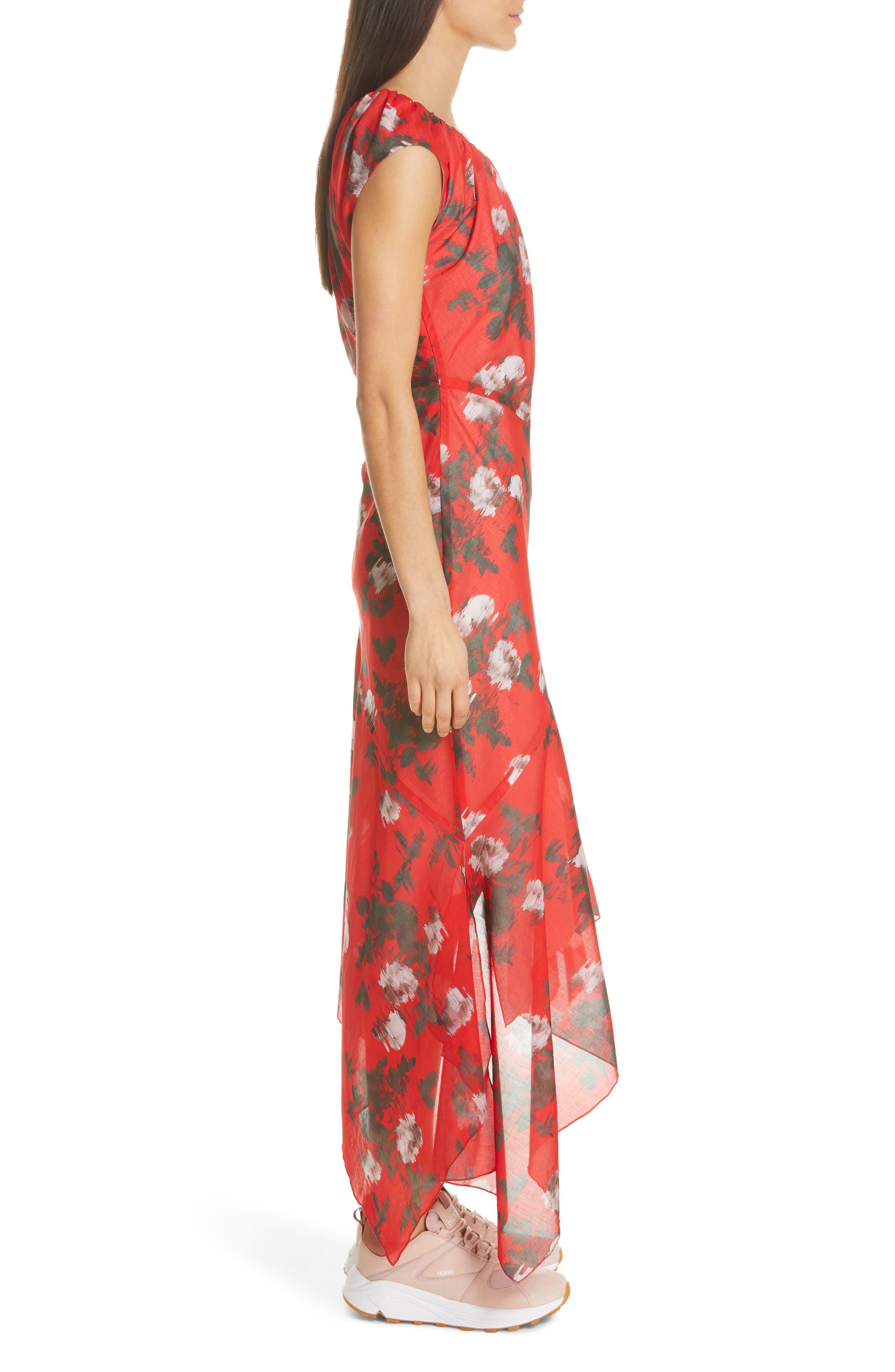 HUGO,                             Kefesha Asymmetrical Midi Dress,                             Alternate thumbnail 3, color,                             RED
