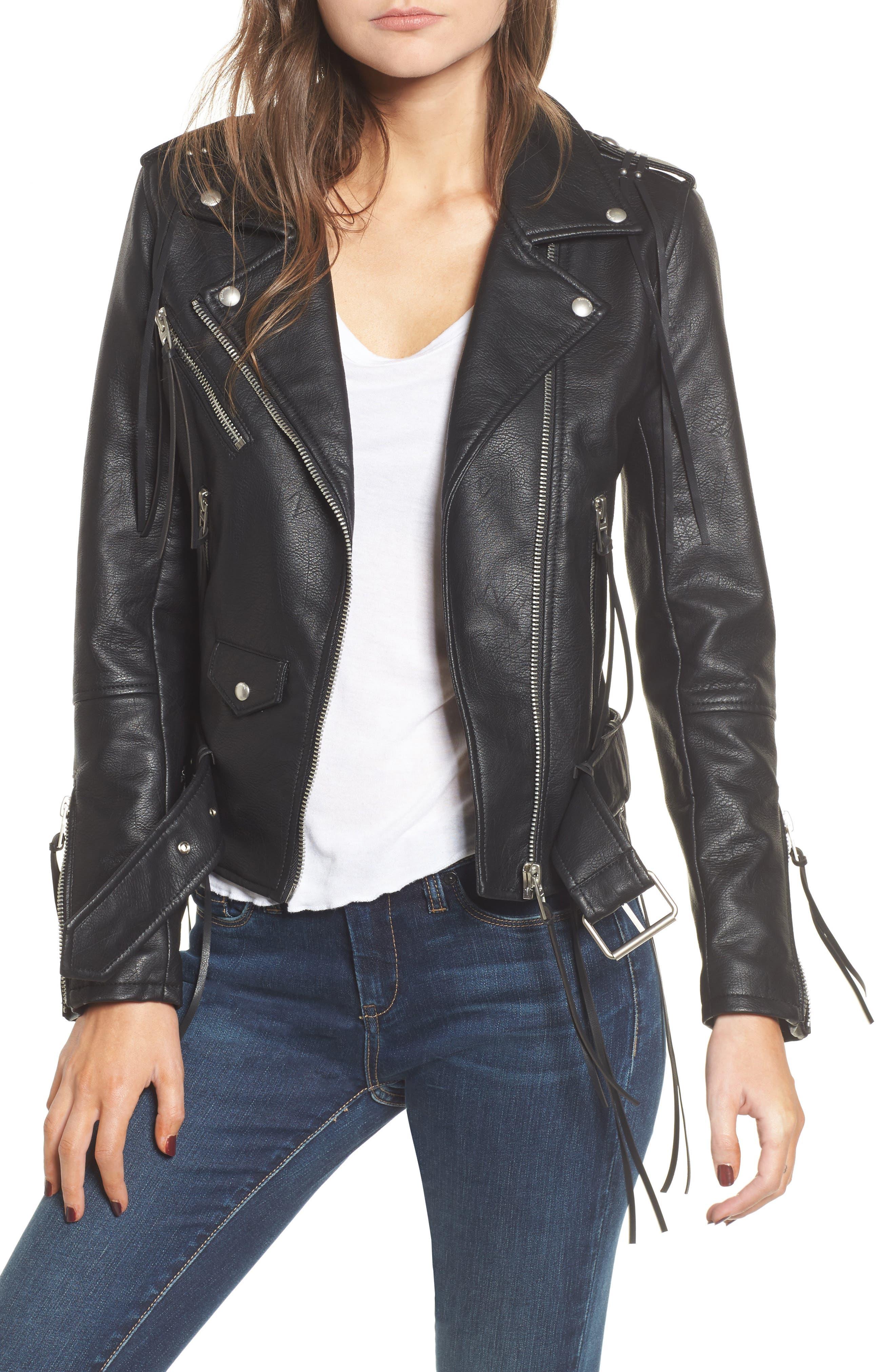 Faux Leather Tassel Moto Jacket,                         Main,                         color, 001