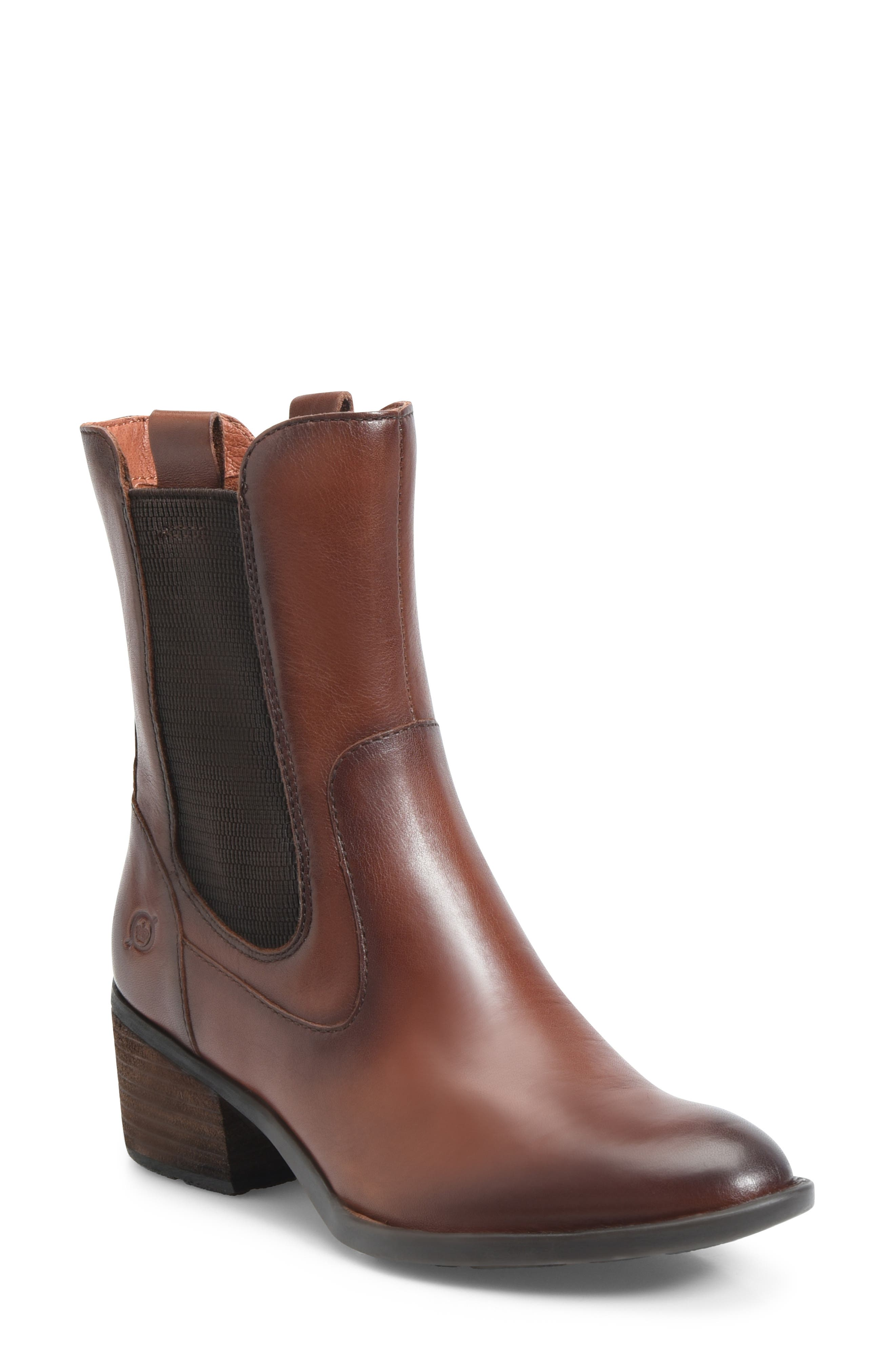 Tenny Chelsea Bootie,                             Main thumbnail 1, color,                             BROWN LEATHER