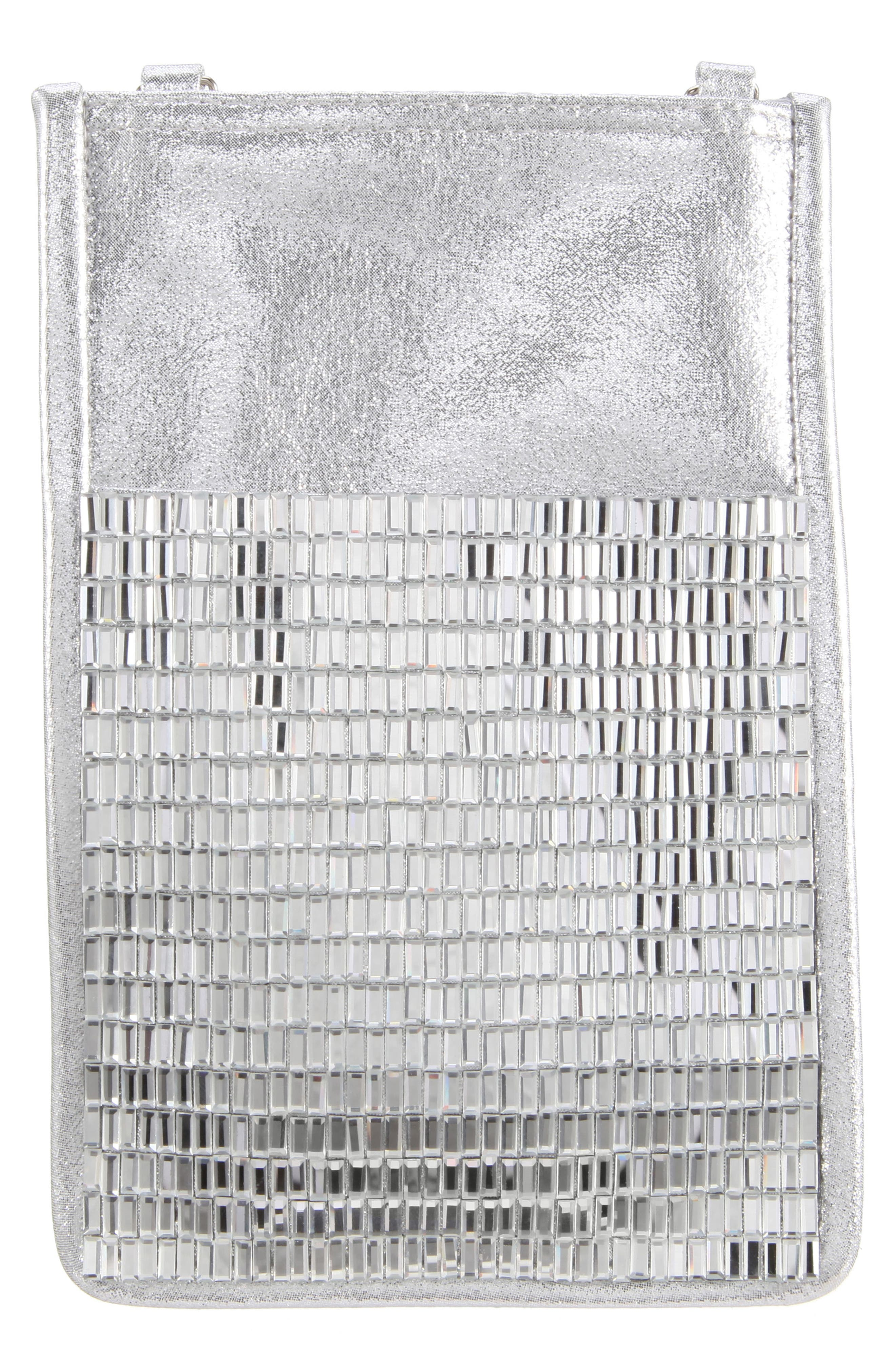 Calgary Crystal Embellished Crossbody Smartphone Pouch,                             Alternate thumbnail 2, color,                             SILVER