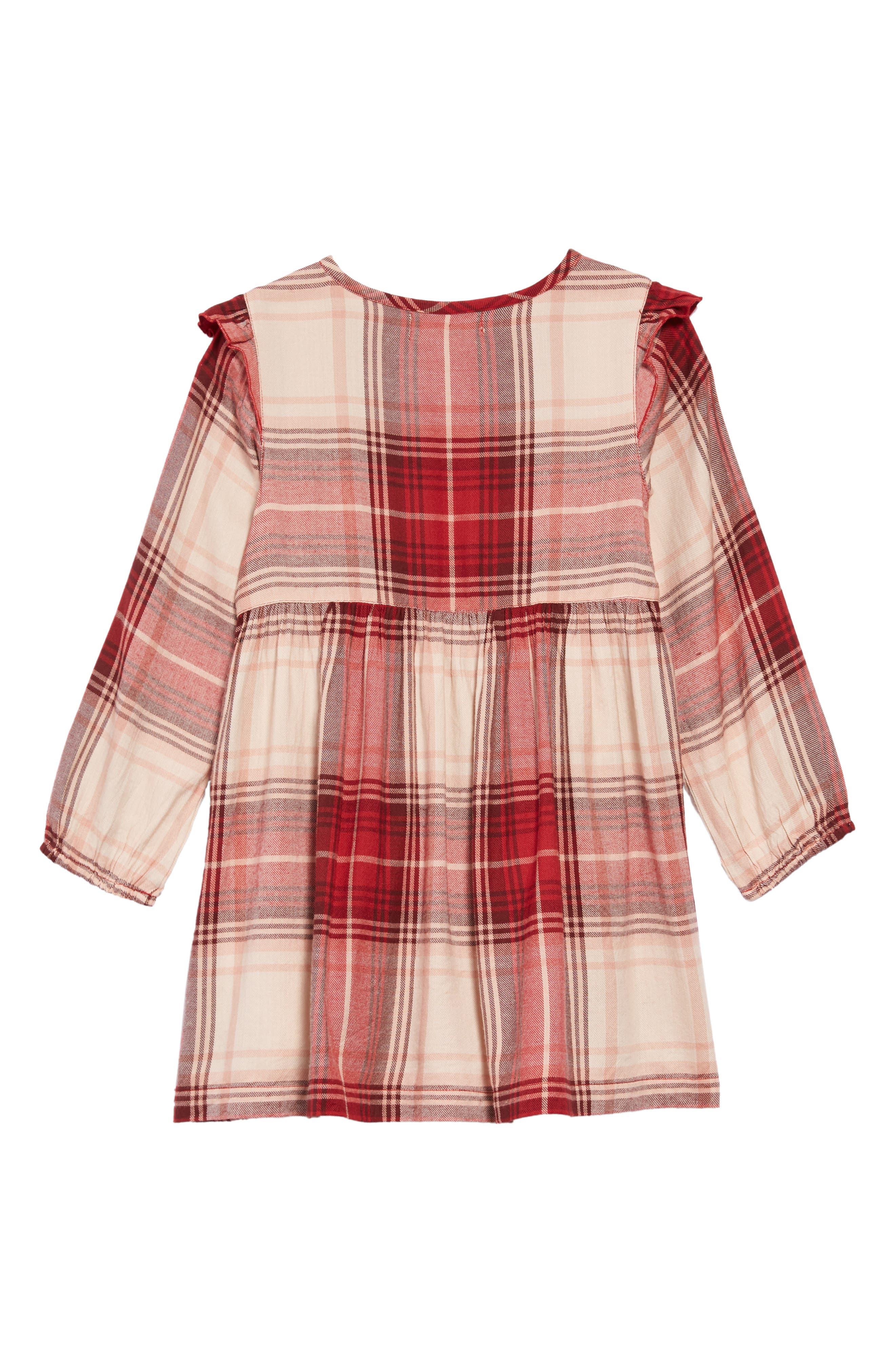 Natalie Plaid Dress,                             Alternate thumbnail 2, color,                             MAROON