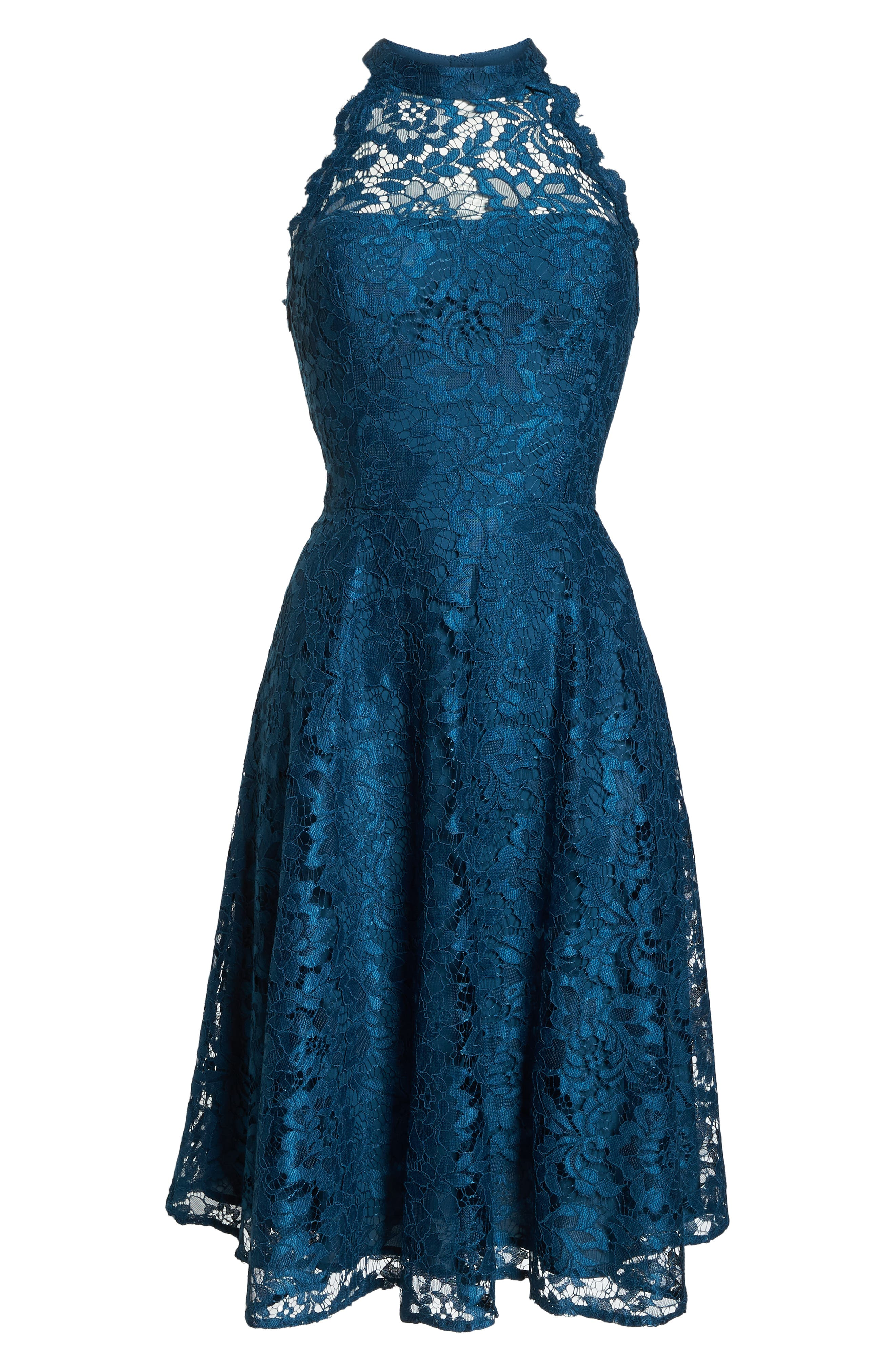 Halter Neck Lace Fit and Flare Dress,                             Alternate thumbnail 7, color,                             TEAL