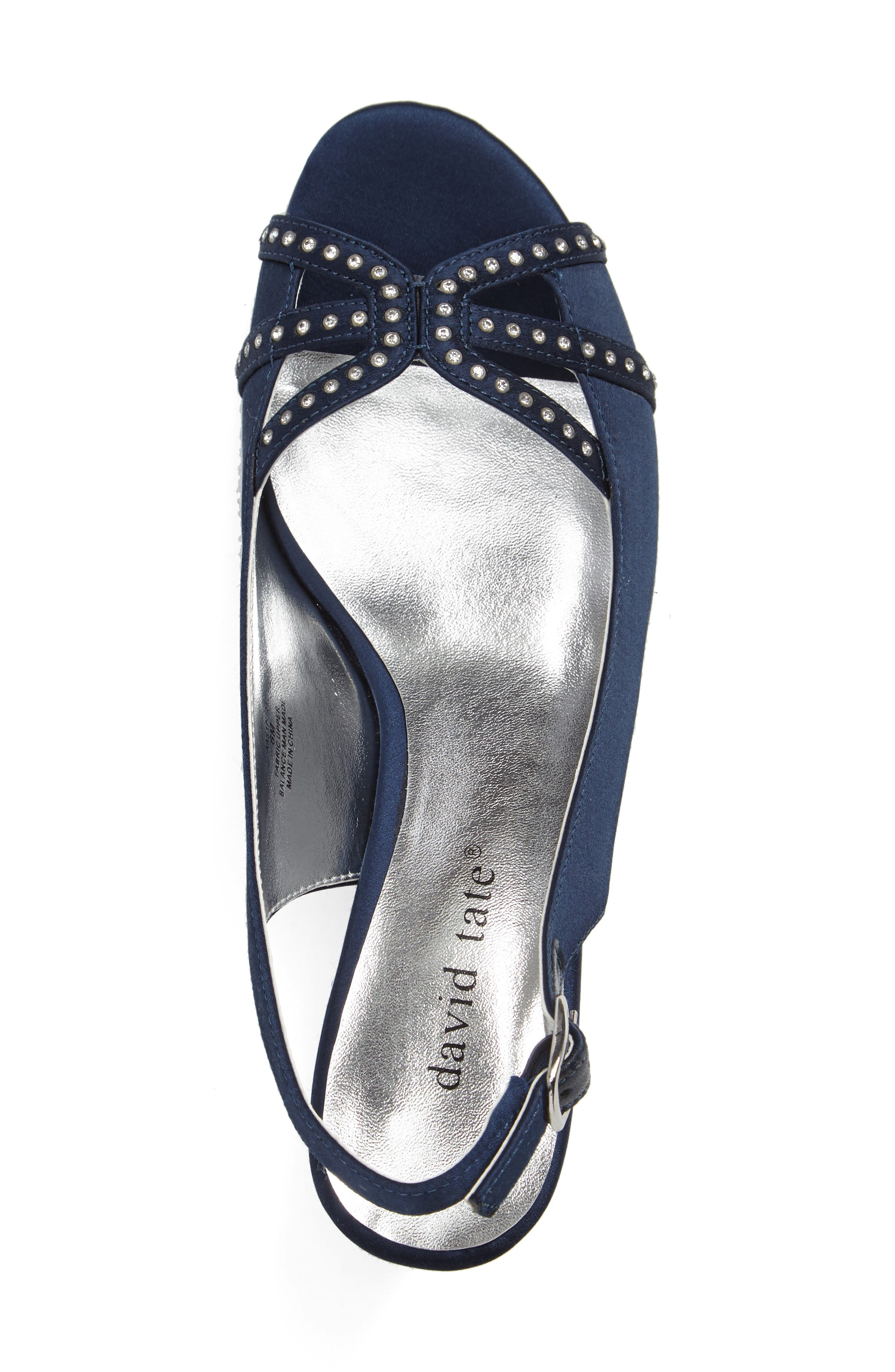 Regal Embellished Slingback Sandal,                             Alternate thumbnail 3, color,                             NAVY FABRIC