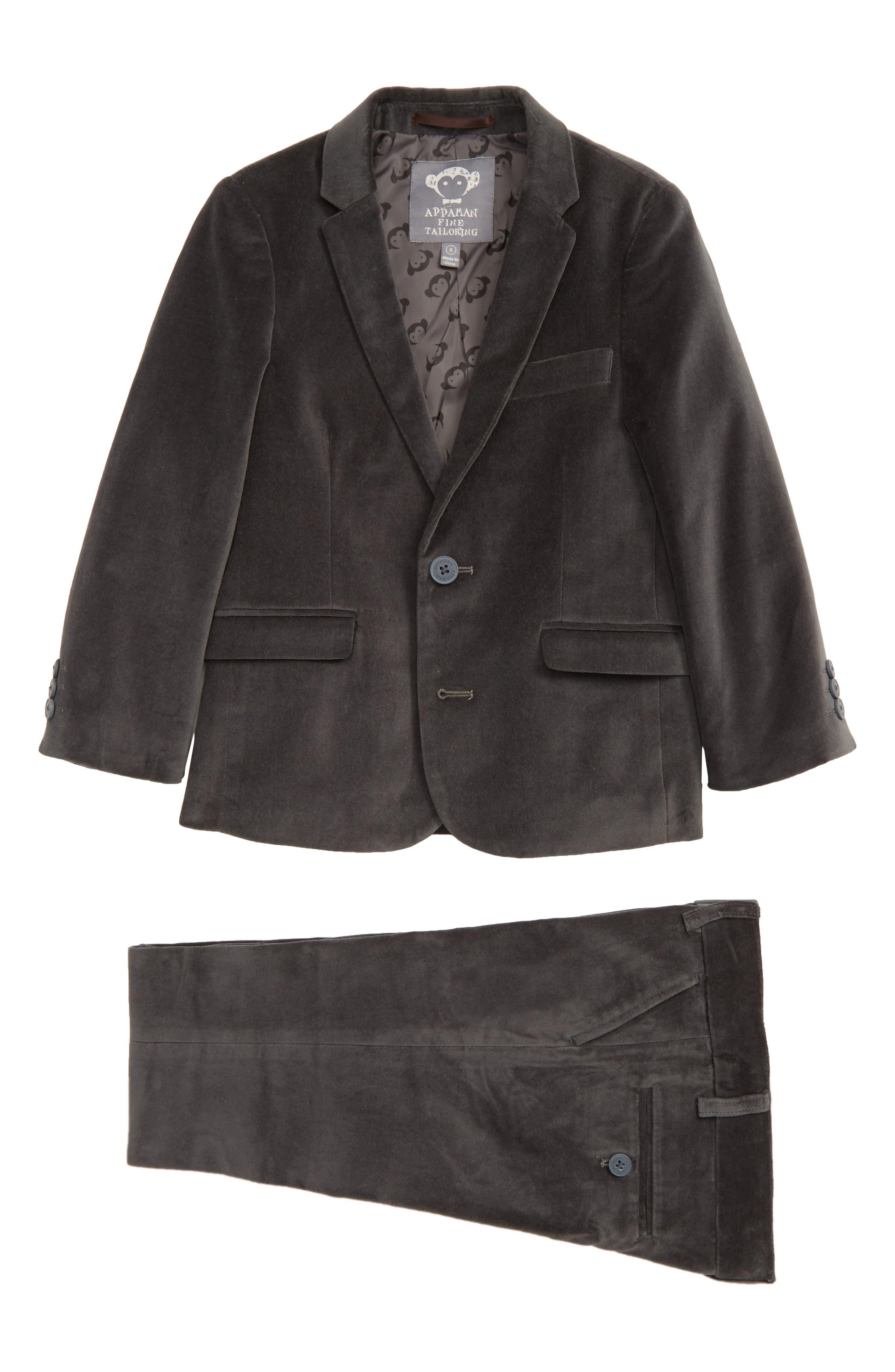 APPAMAN Mod Velvet Suit, Main, color, 001