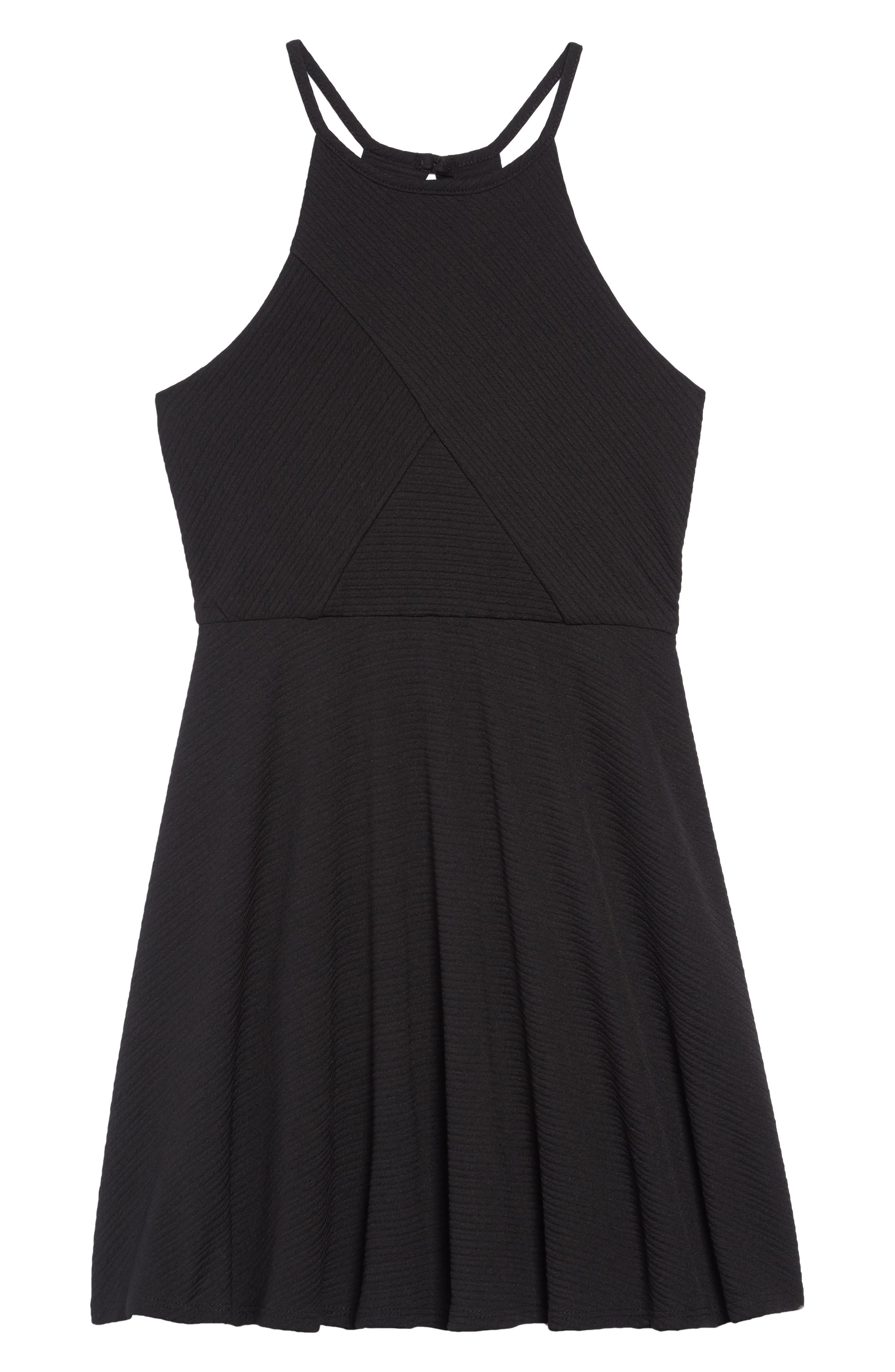 Textured Skater Dress,                             Main thumbnail 1, color,                             001
