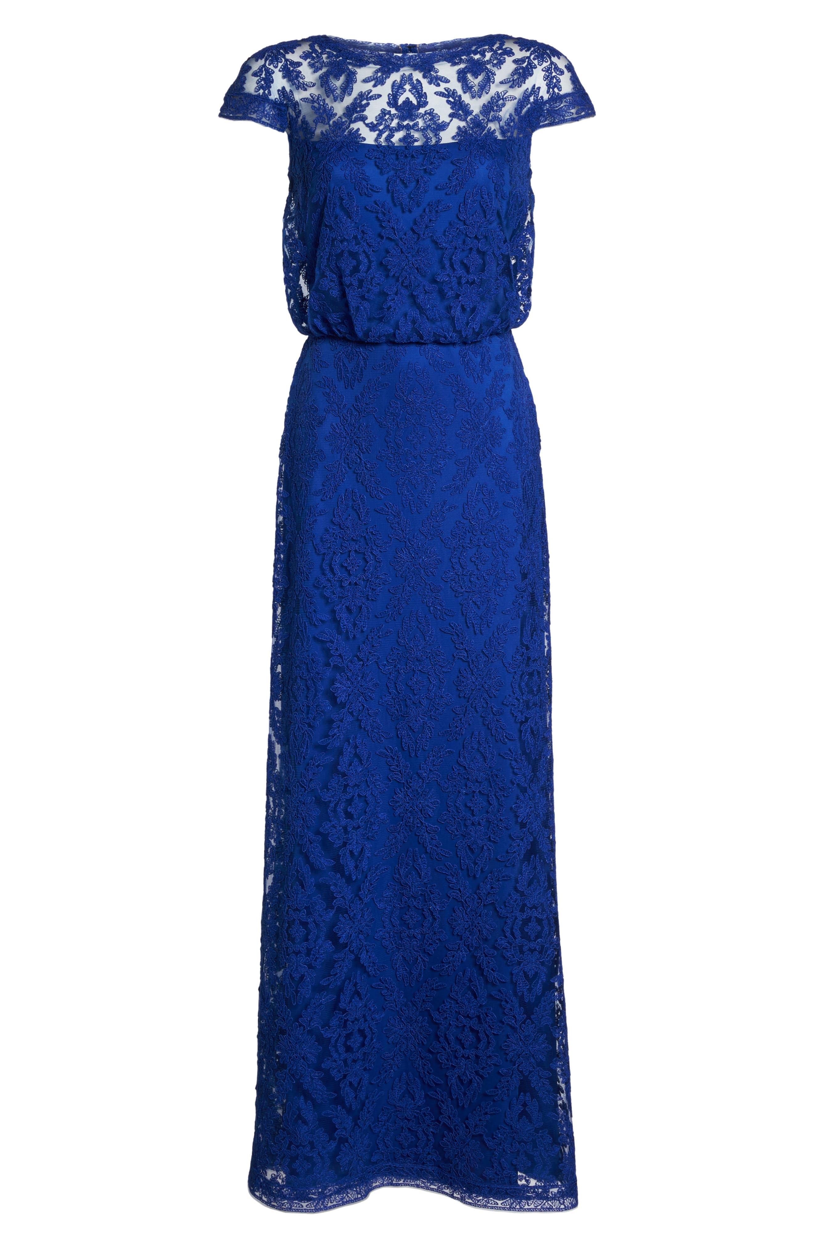 Corded Lace Blouson Gown,                             Alternate thumbnail 6, color,                             428