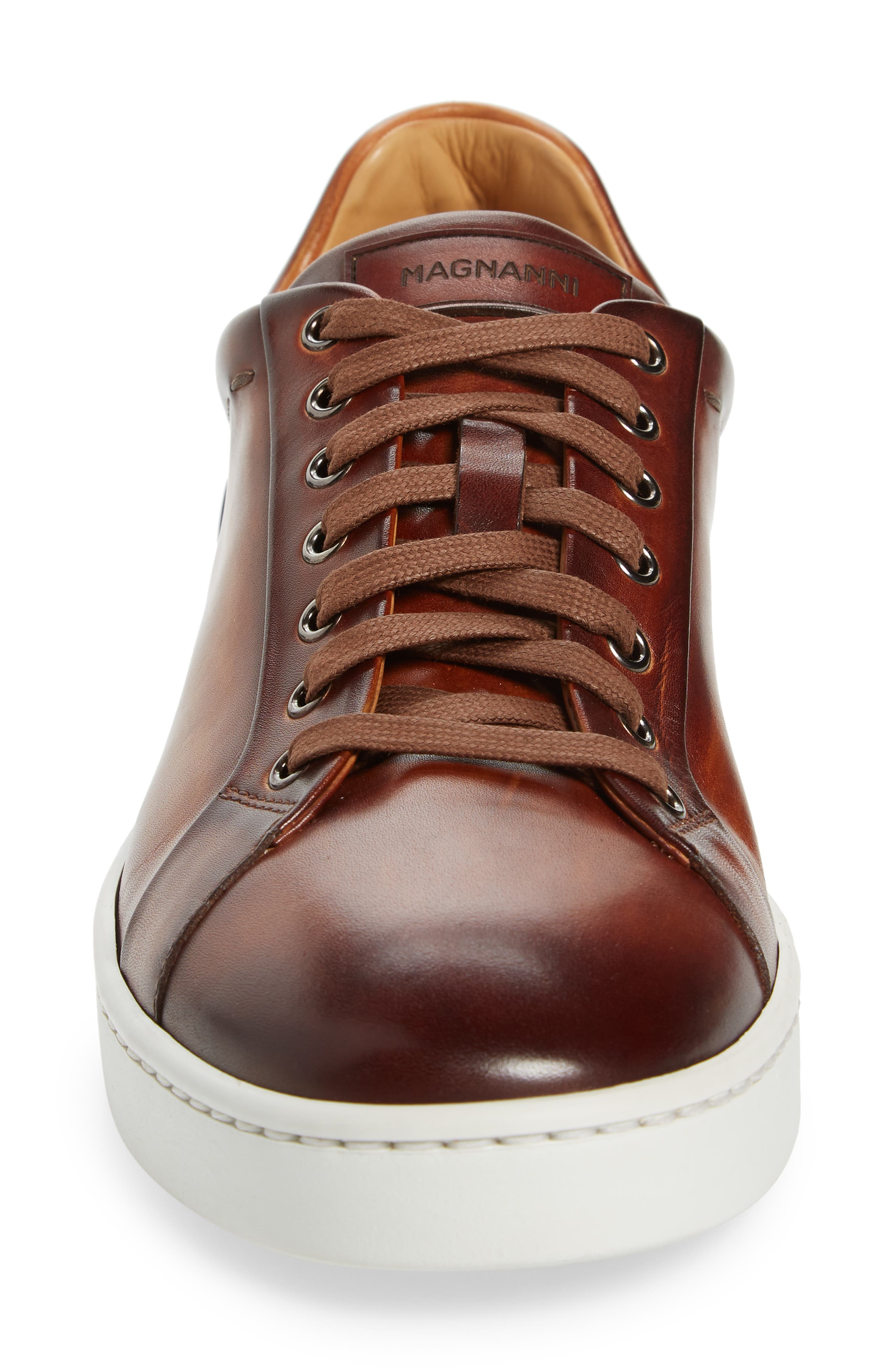 Elonso Low Top Sneaker,                             Alternate thumbnail 4, color,                             COGNAC LEATHER