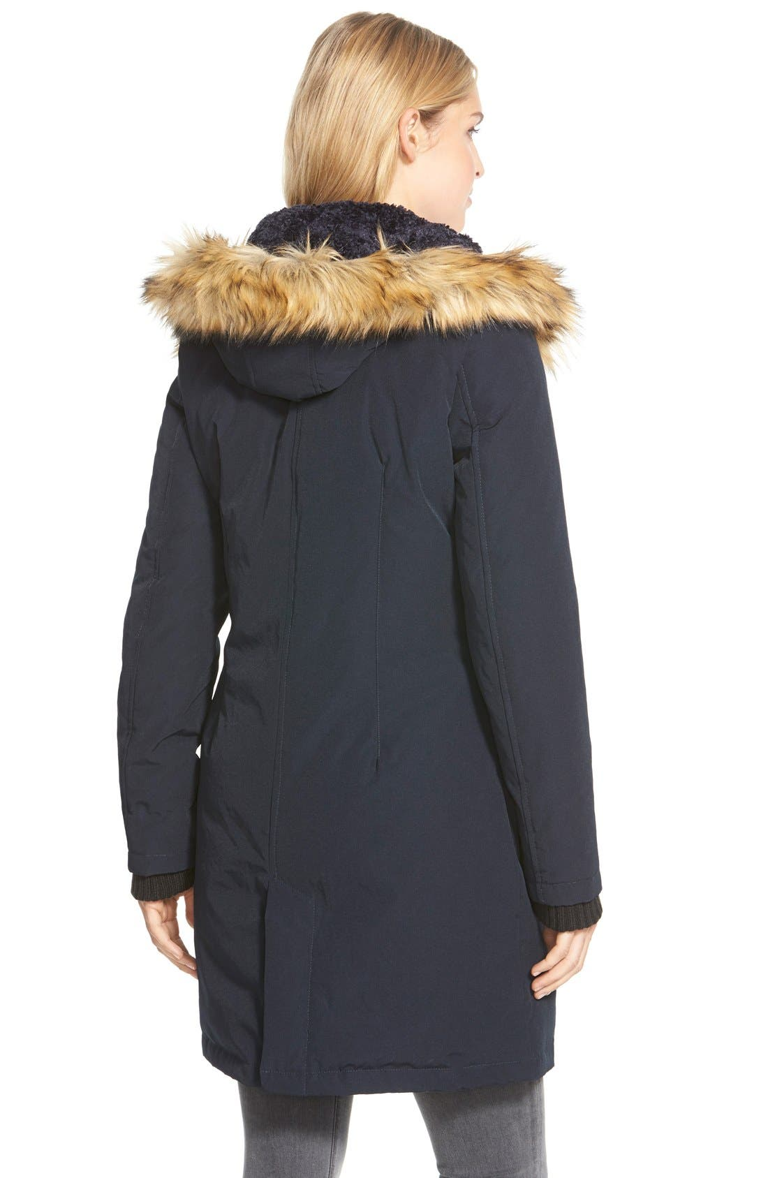 Down & Feather Fill Parka with Faux Fur Trim,                             Alternate thumbnail 10, color,
