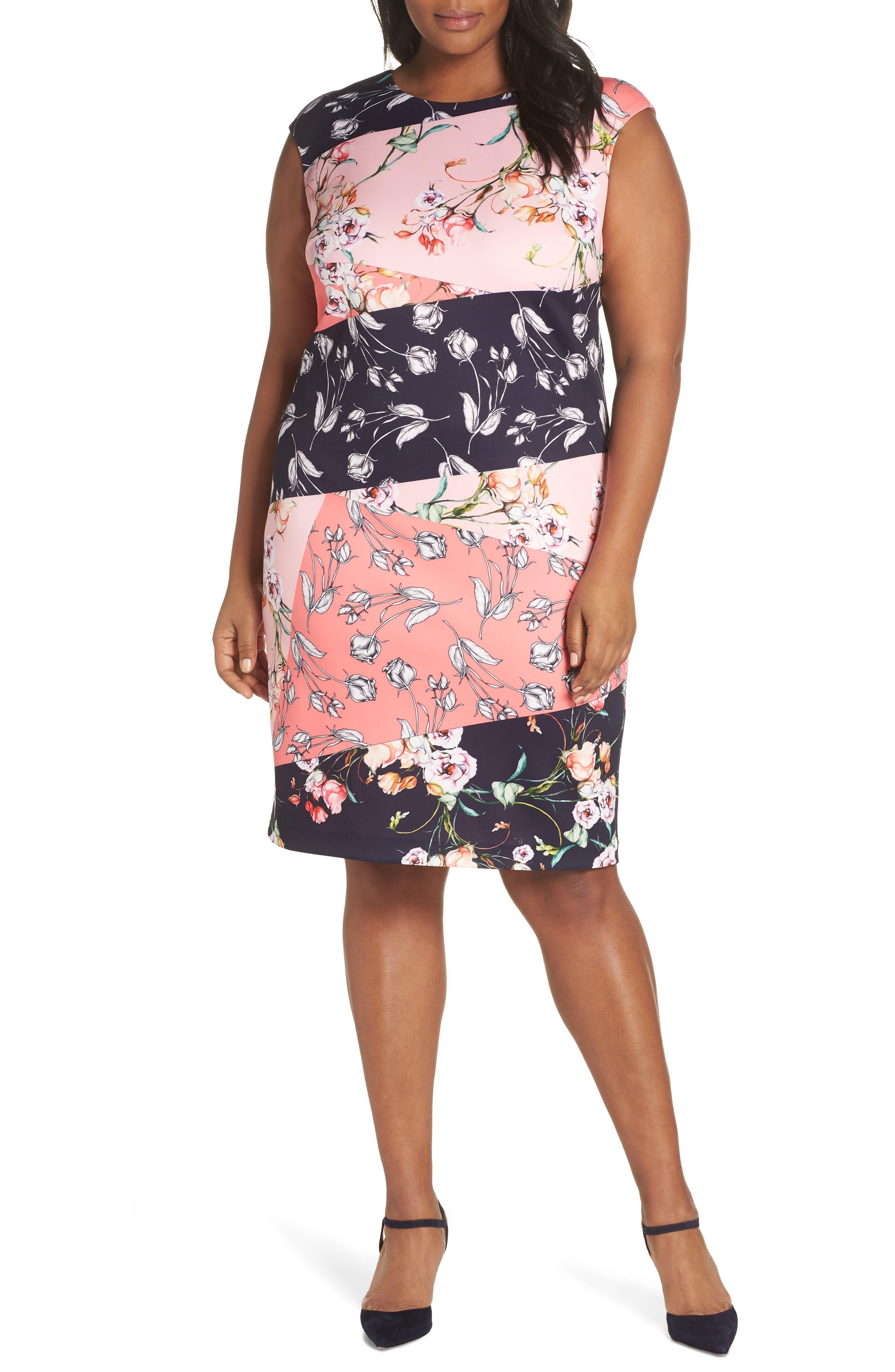 Plus Size Vince Camuto Floral Print Scuba Crepe Sheath Dress, Pink