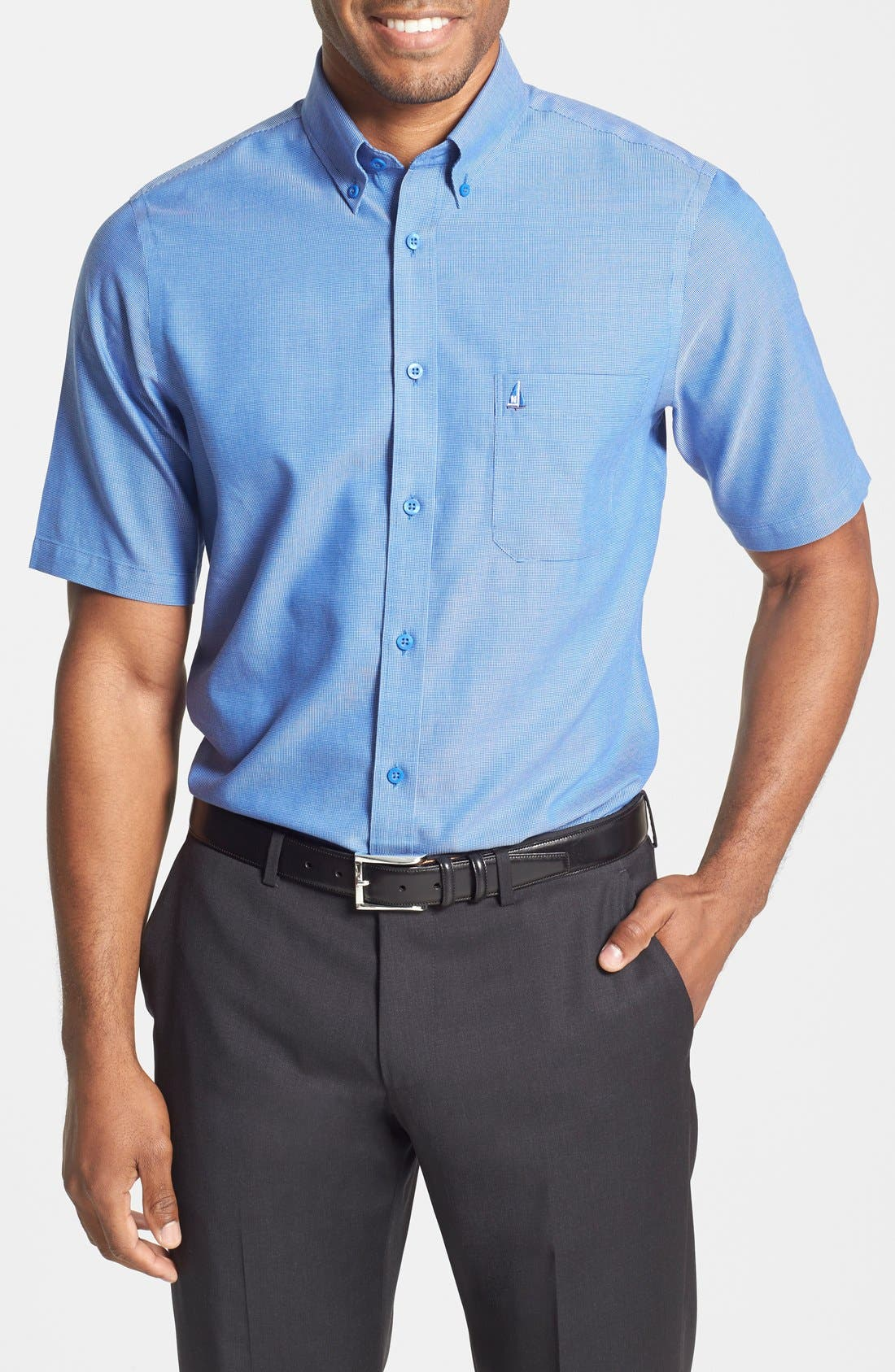 'Classic' Smartcare<sup>™</sup> Regular Fit Short Sleeve Cotton Sport Shirt,                         Main,                         color,