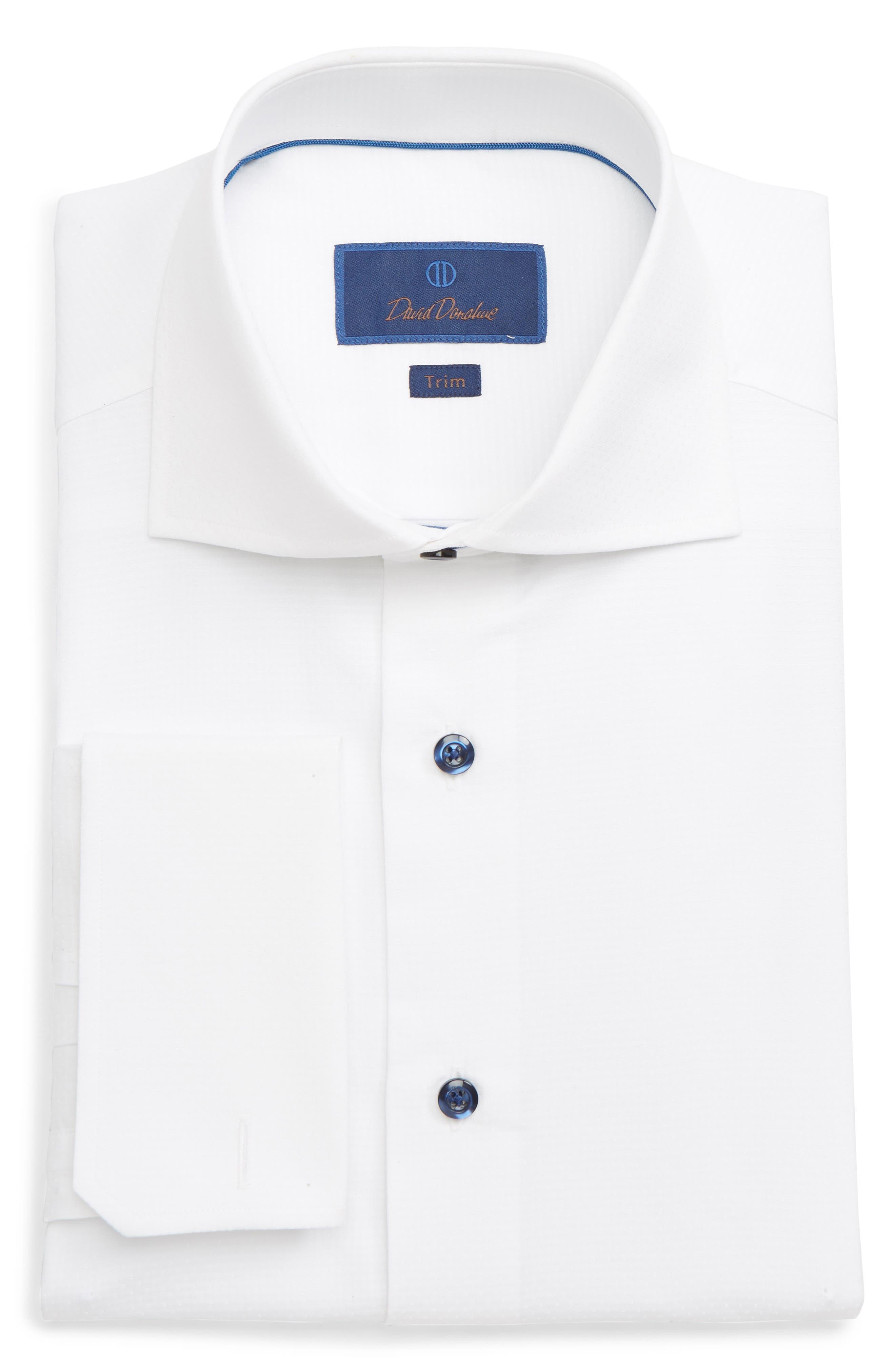 DAVID DONAHUE Men'S Trim-Fit Mini Diamond Dress Shirt With French Cuffs in White