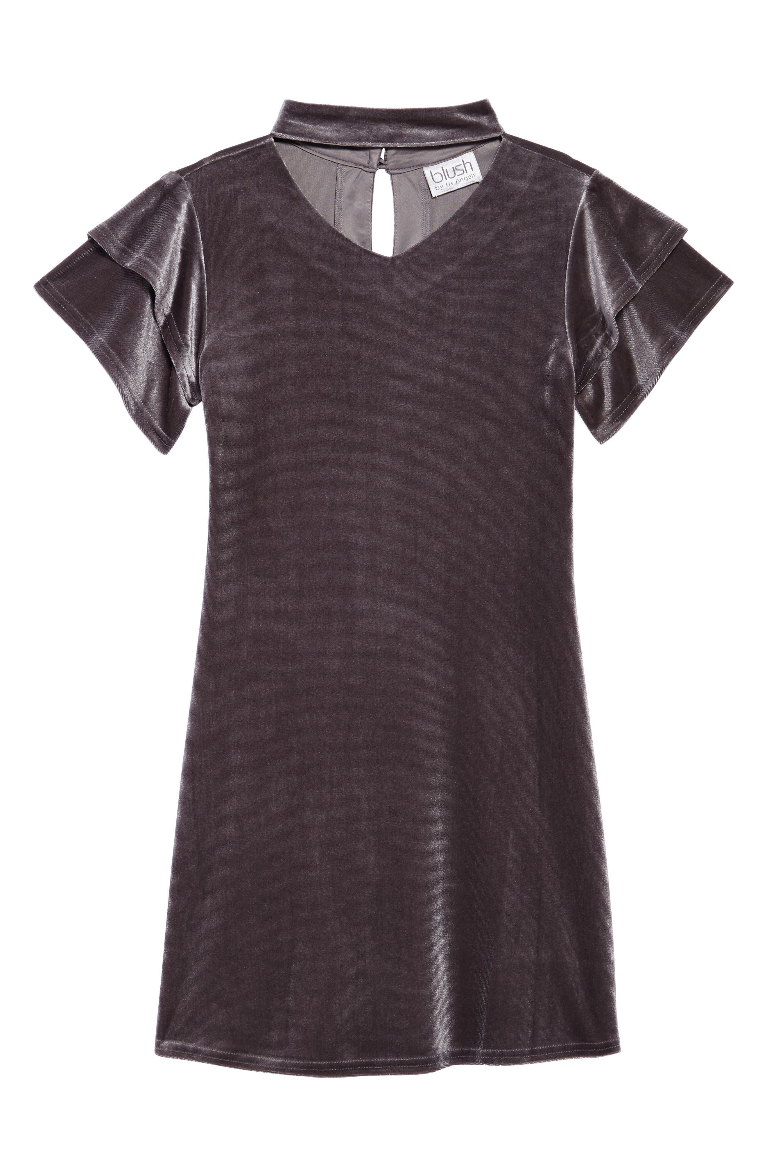 Gigi Flutter Sleeve Velvet Dress,                         Main,                         color, SILVER GREY