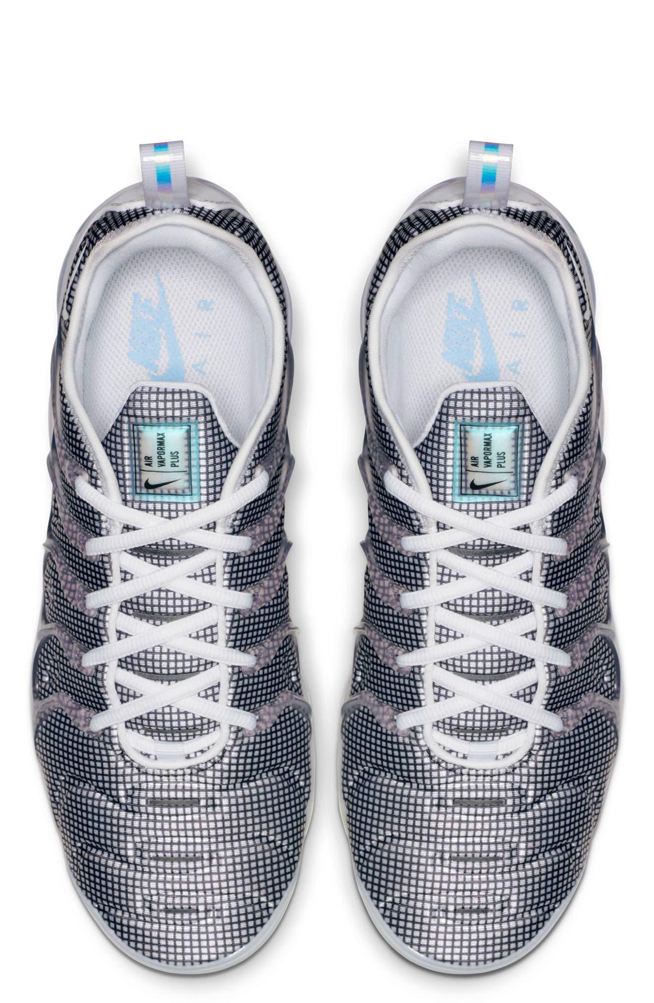 Air VaporMax Plus Sneaker,                             Alternate thumbnail 4, color,                             WHITE/ BLACK/ ALUMINUM/ VOLT