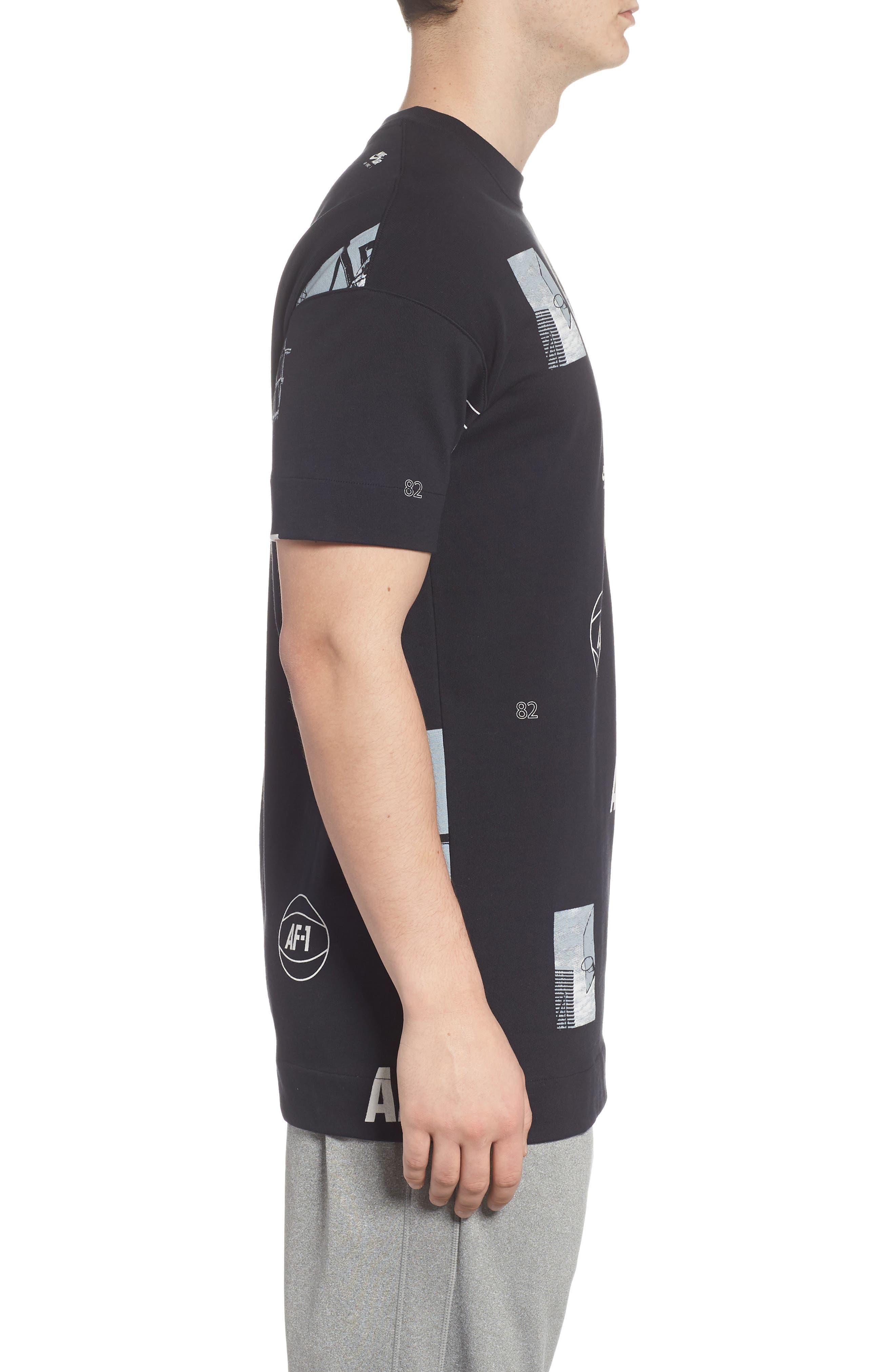 Sportswear AF-1 Oversize T-Shirt,                             Alternate thumbnail 3, color,                             BLACK/ WHITE